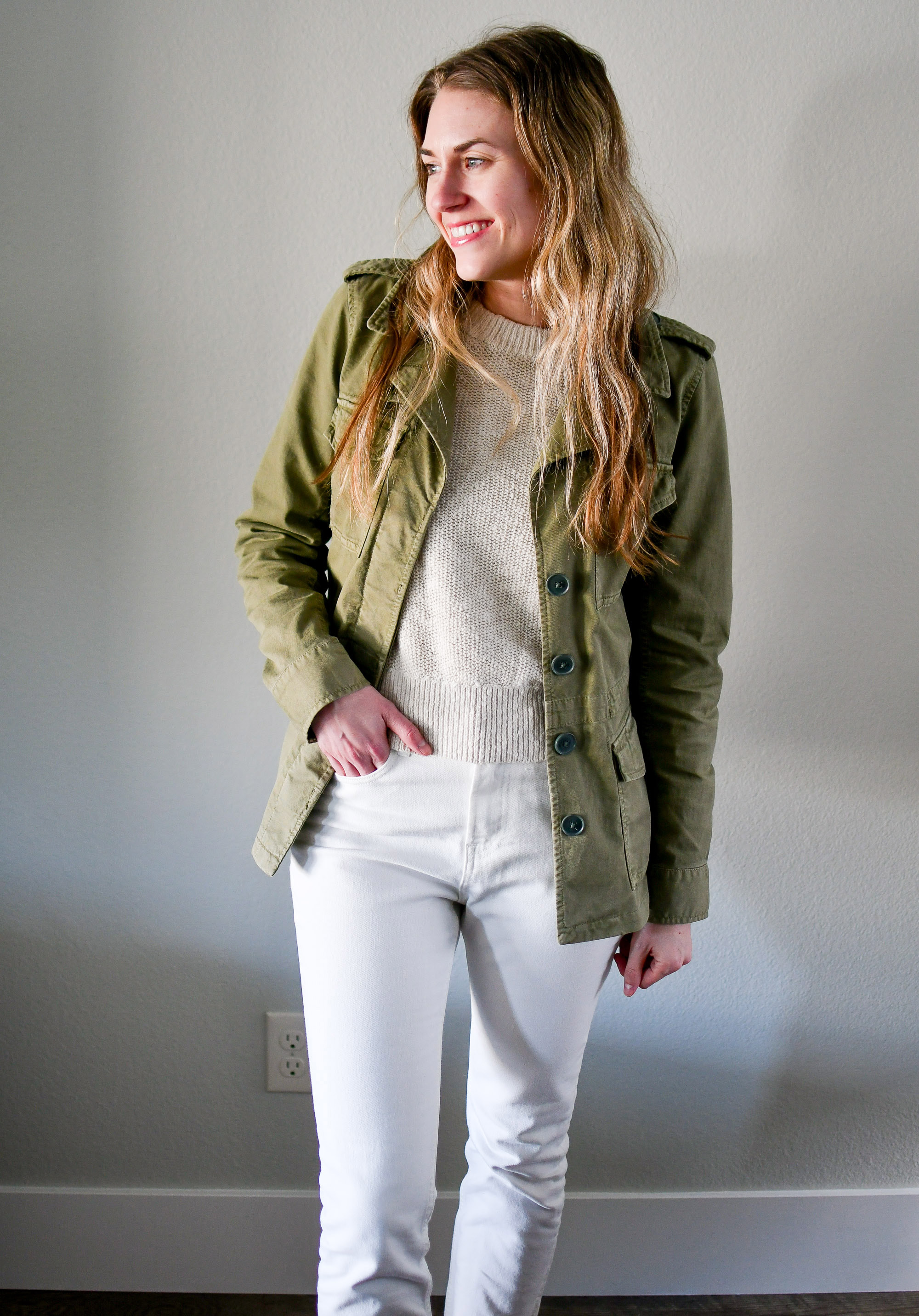 Green utility jacket spring outfit — Cotton Cashmere Cat Hair