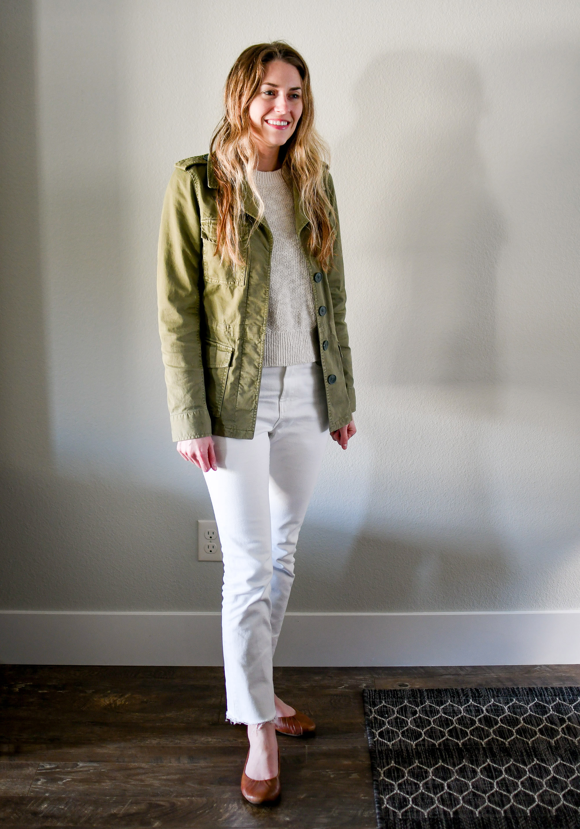 Green jacket, beige sweater, white denim, brown flats — Cotton Cashmere Cat Hair