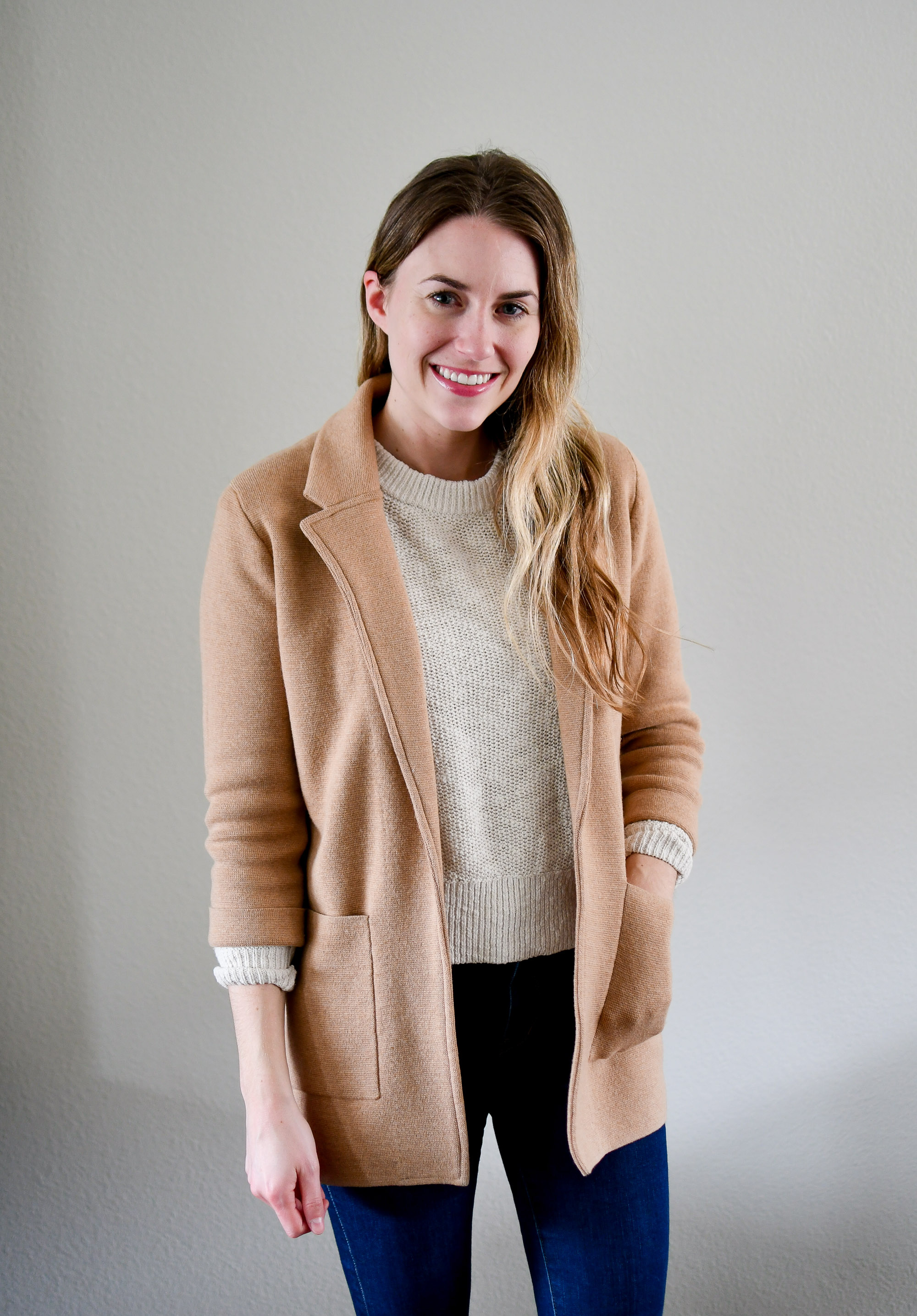 Camel sweater blazer and cotton-linen sweater outfit — Cotton Cashmere Cat Hair