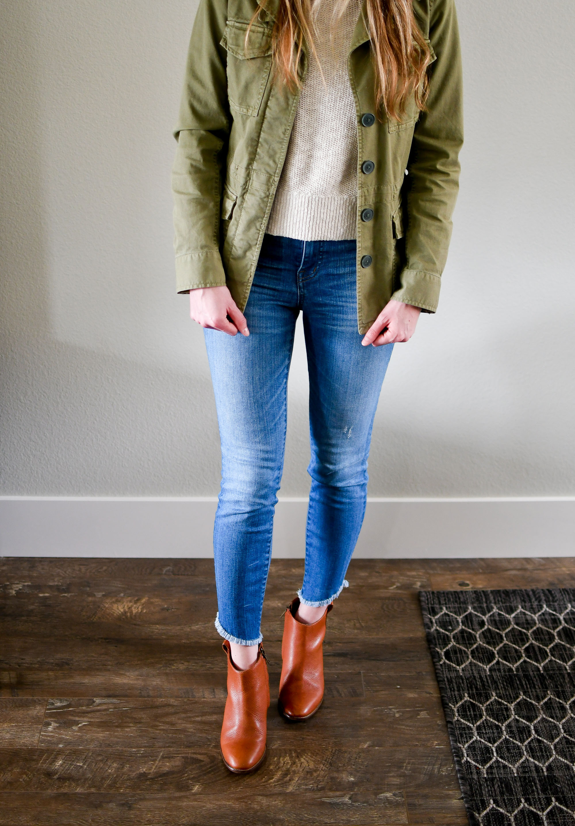 Madewell tulip hem skinny jeans spring outfit — Cotton Cashmere Cat Hair