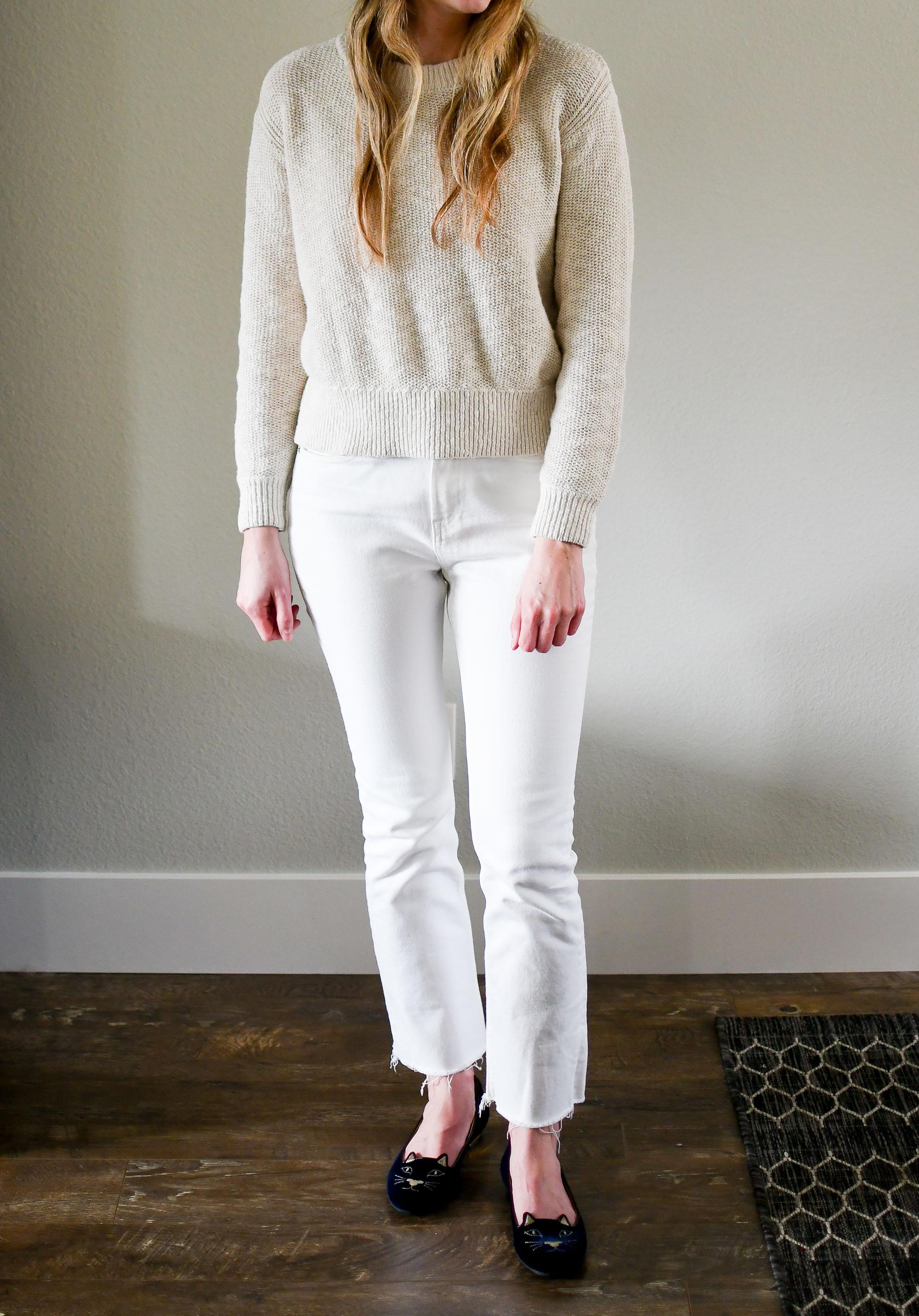 Everlane cotton-linen sweater and kick crop jeans — Cotton Cashmere Cat Hair