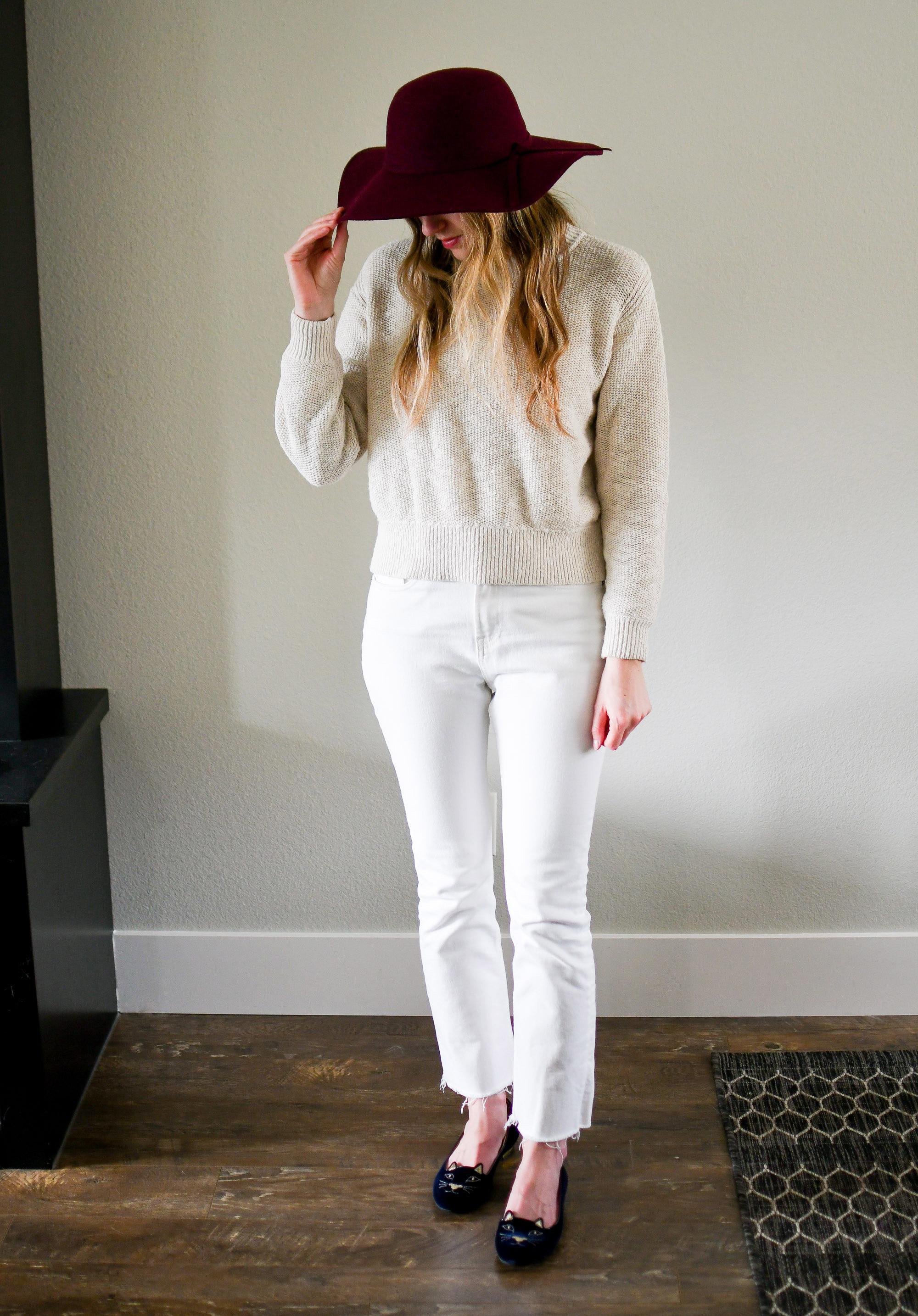 Burgundy hat, beige sweater, white denim, navy Kitty flats — Cotton Cashmere Cat Hair