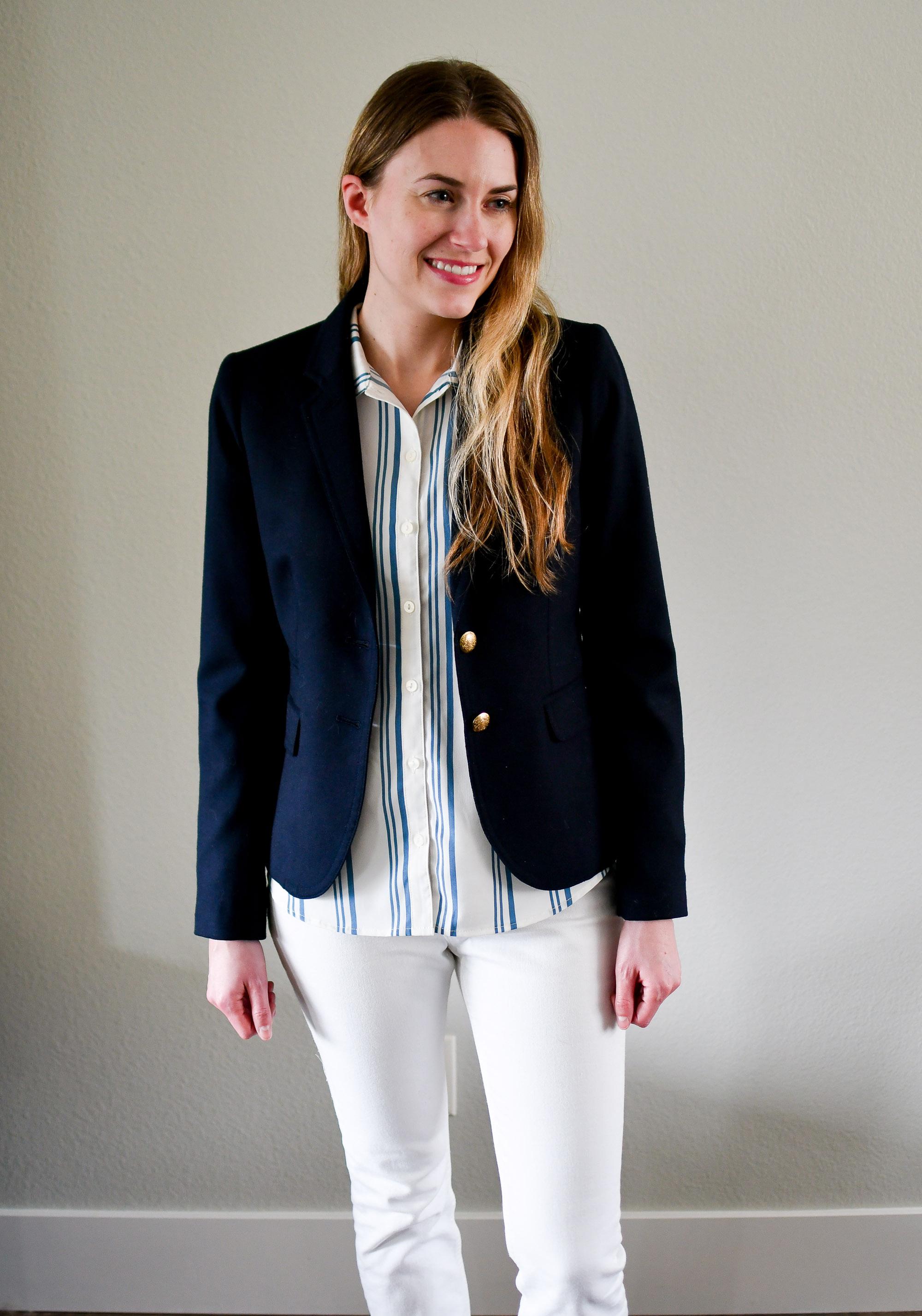 Navy J.Crew Schoolboy blazer spring outfit — Cotton Cashmere Cat Hair