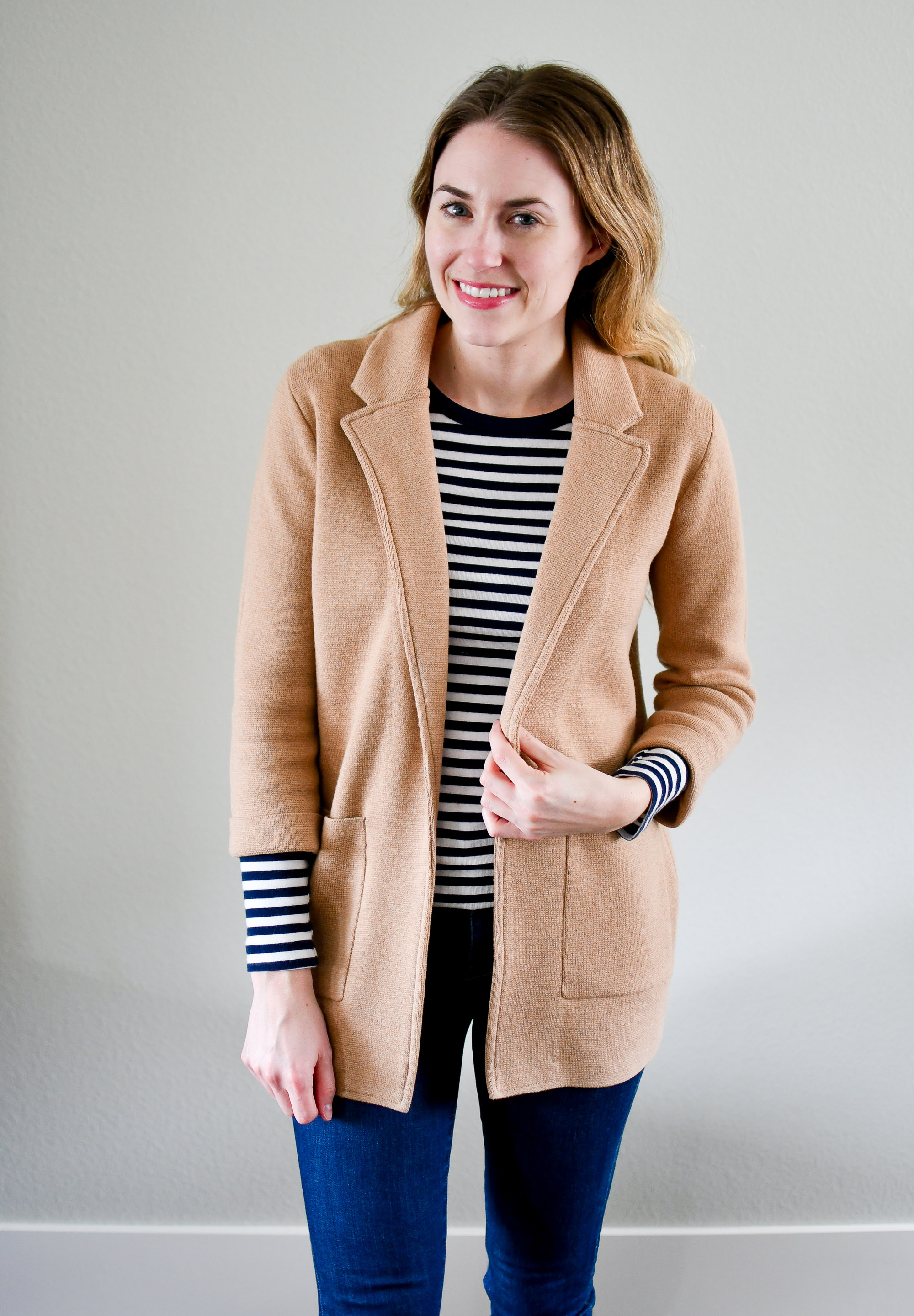 Camel sweater blazer and navy striped tee — Cotton Cashmere Cat Hair