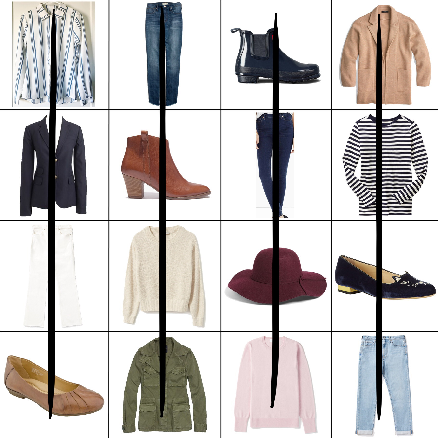 April Style Sudoku: 4 column outfits — Cotton Cashmere Cat Hair