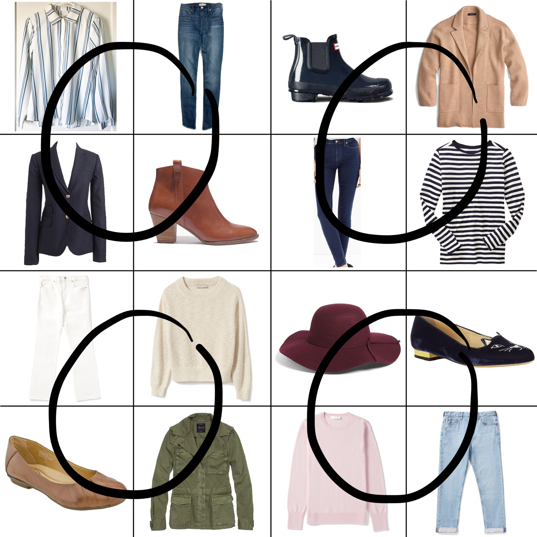 April Style Sudoku: 4 corner outfits — Cotton Cashmere Cat Hair
