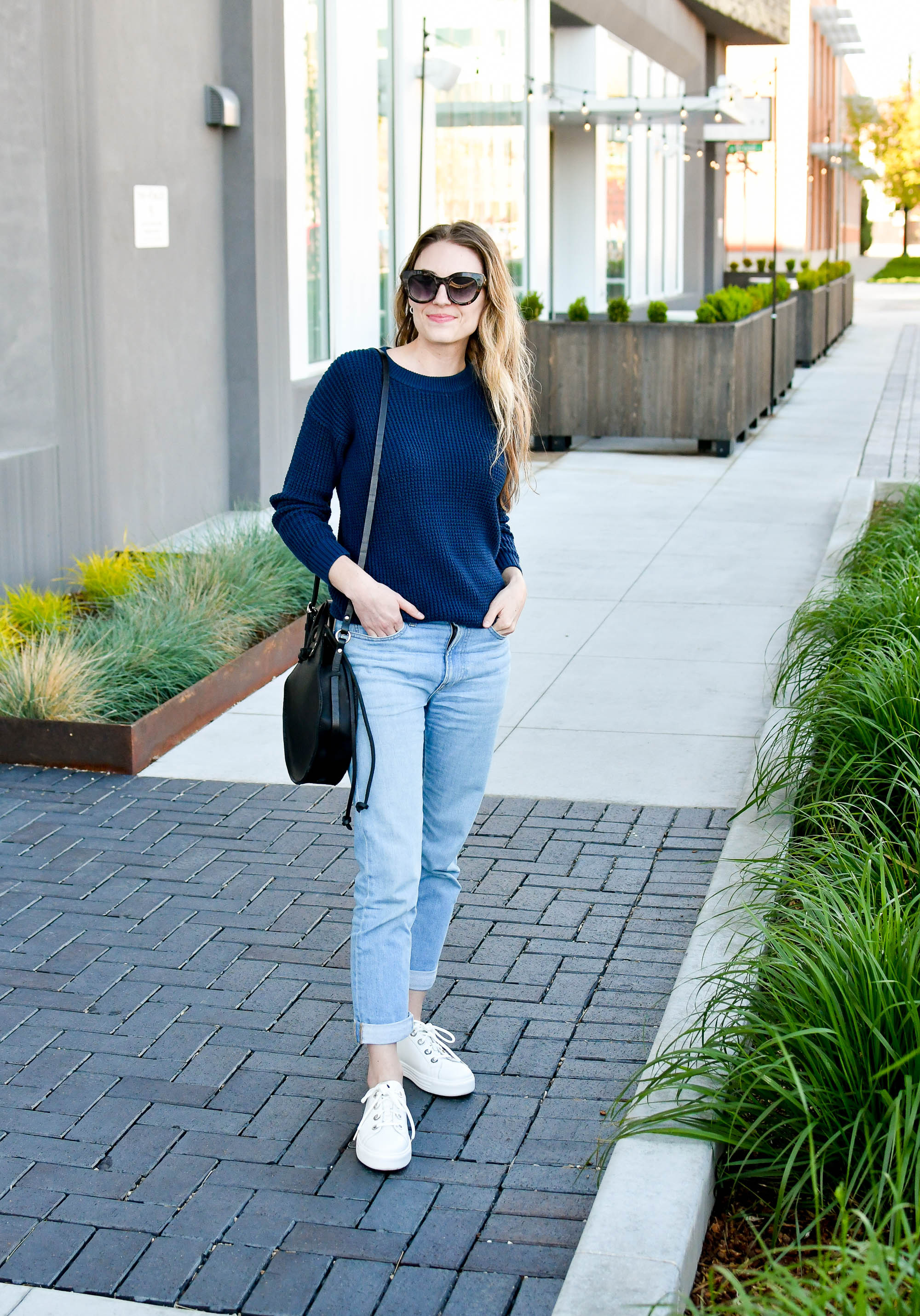 Earth Cedarwood sneakers outfit with Everlane modern boyfriend jeans — Cotton Cashmere Cat Hair