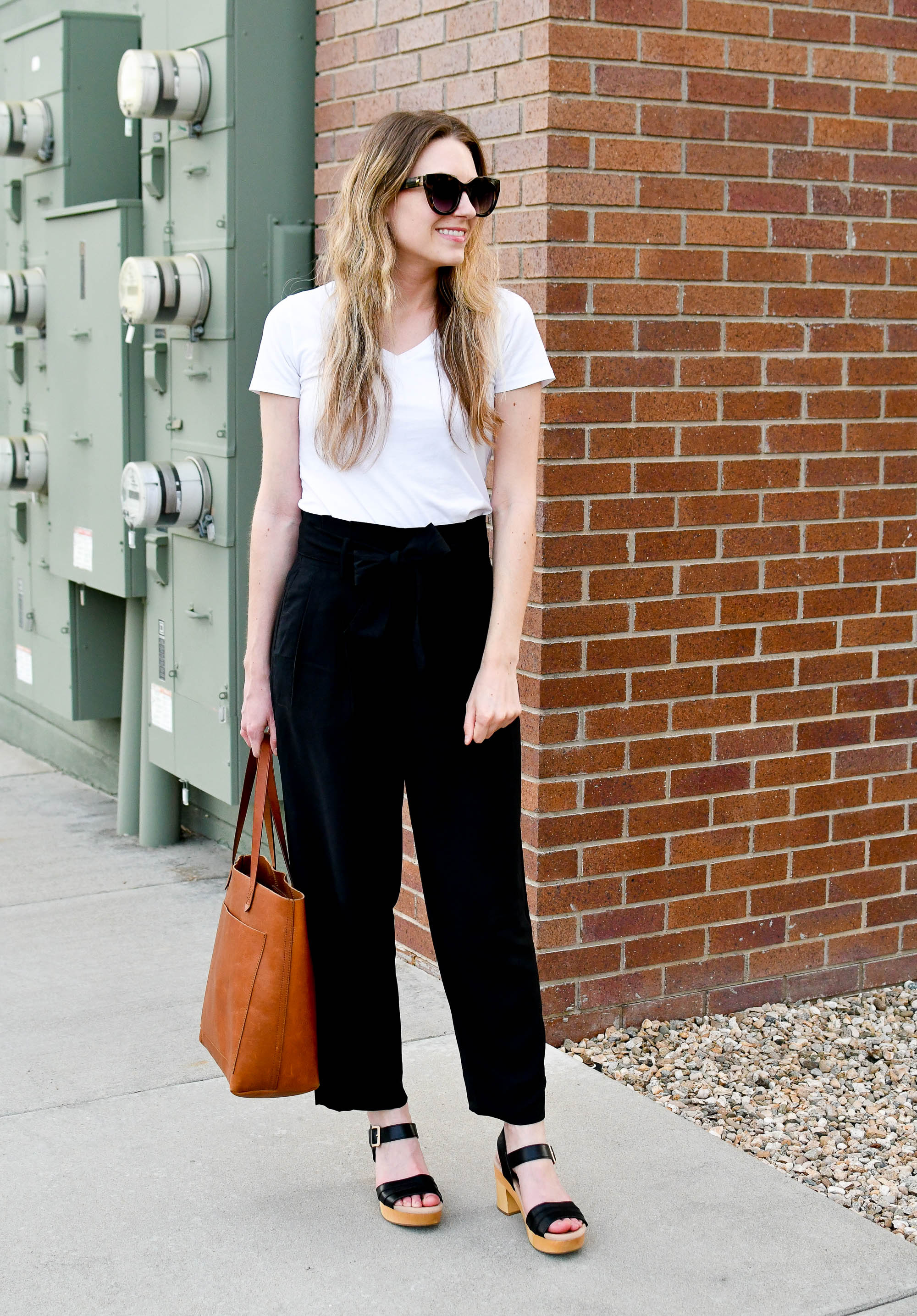Spring work outfit with white tee and black paperbag pants — Cotton Cashmere Cat Hair