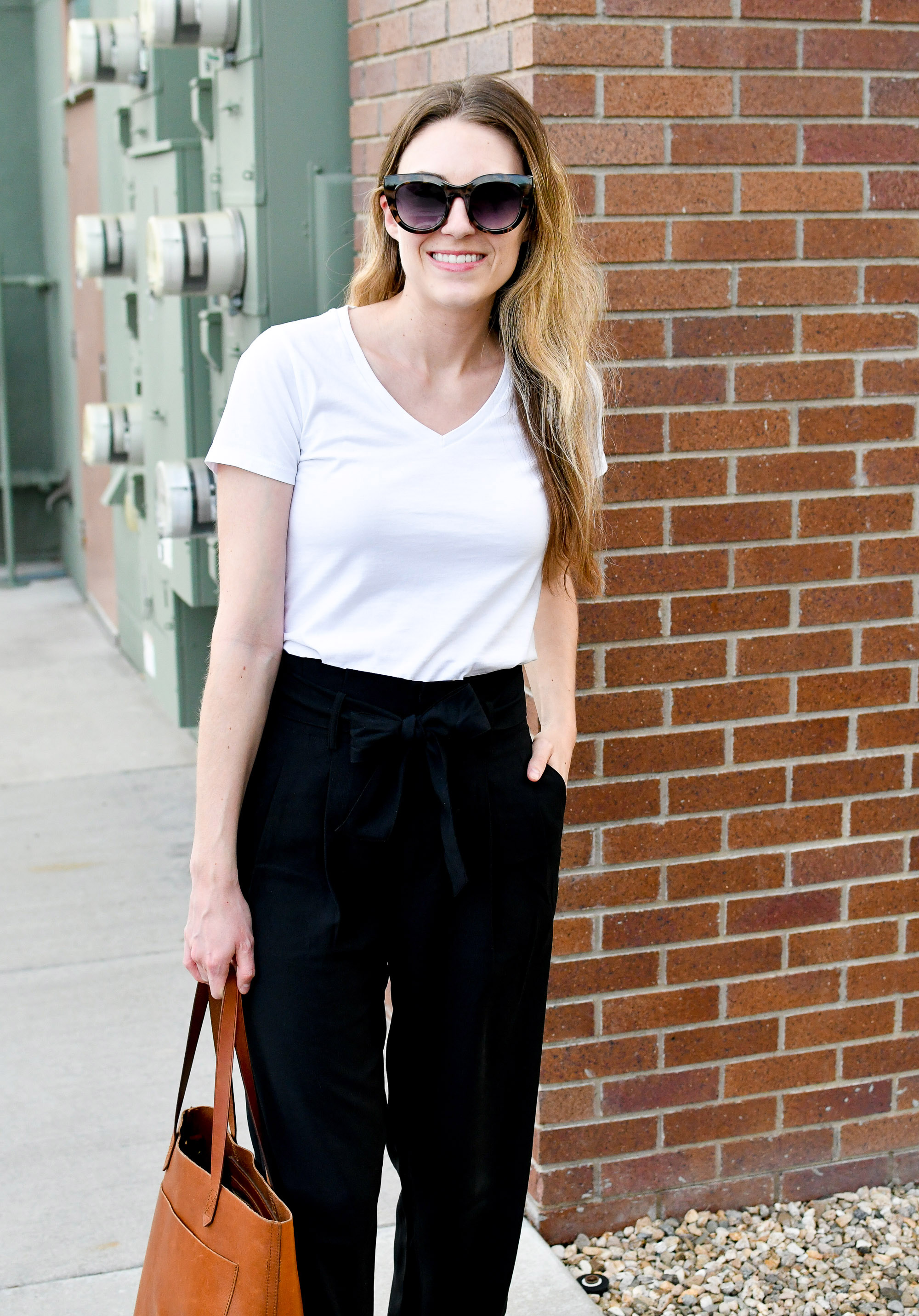 Spring work outfit with white tee and Madewell paperbag pants — Cotton Cashmere Cat Hair