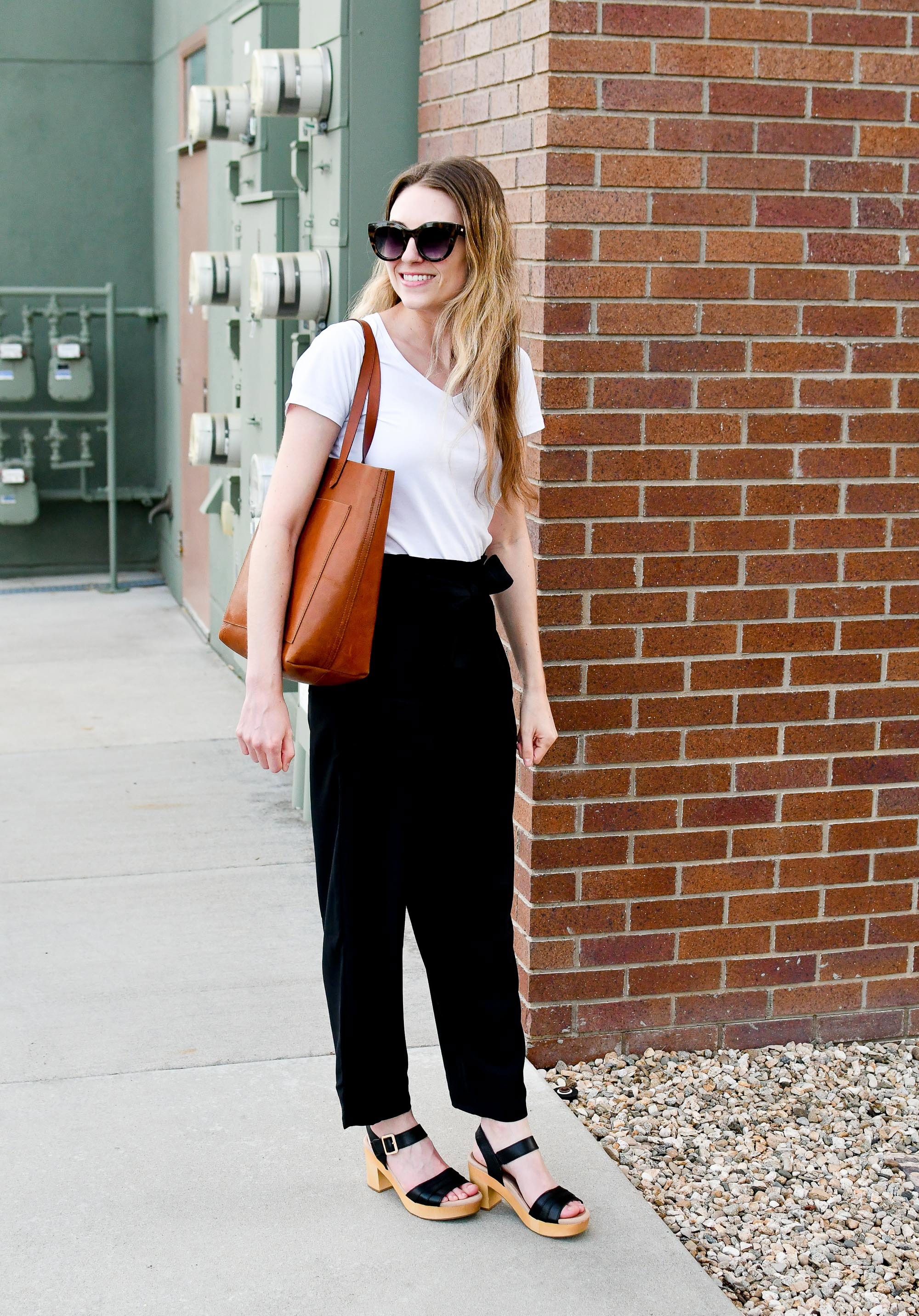 Madewell paperbag pants spring work outfit with Transport tote — Cotton Cashmere Cat Hair