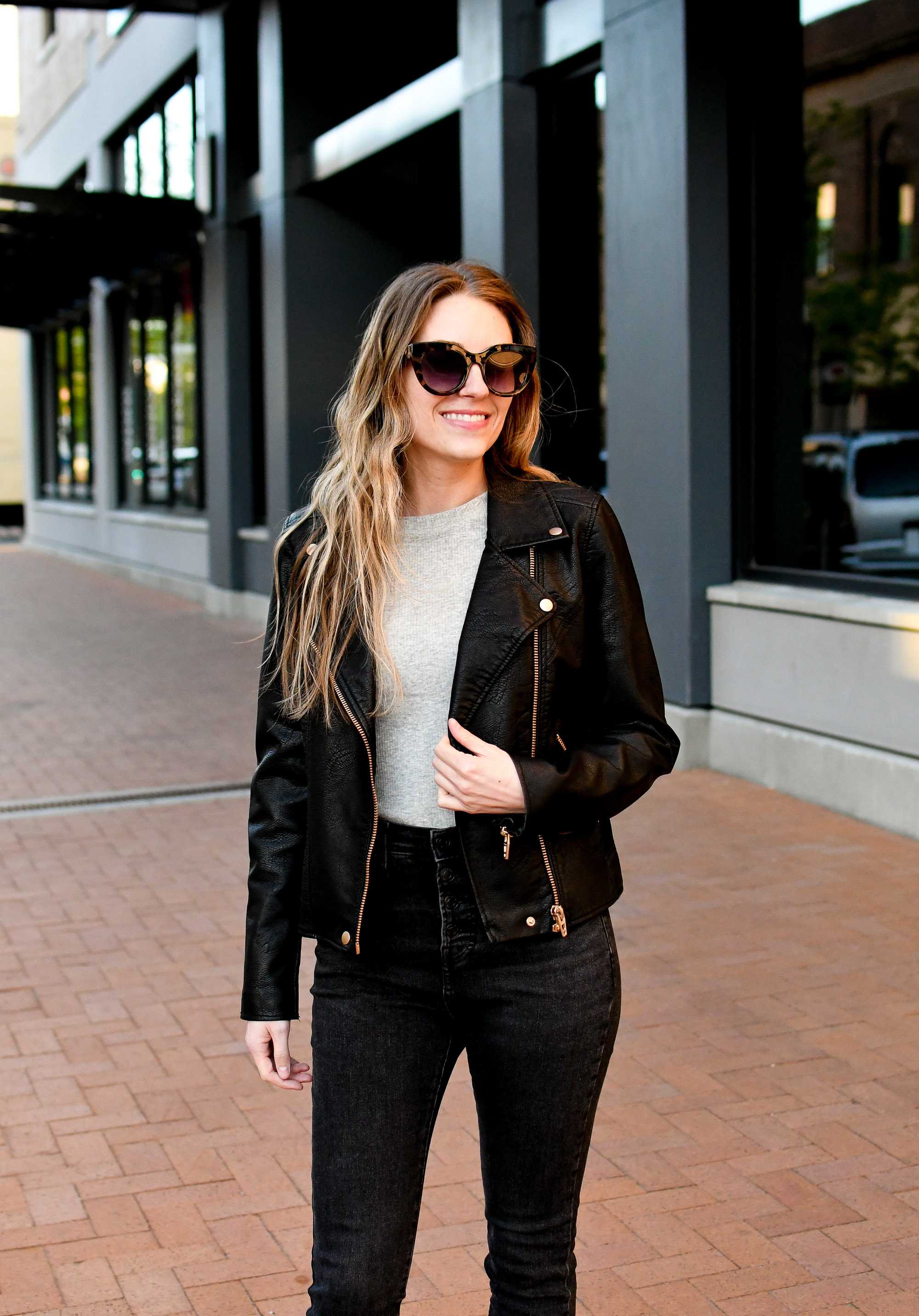 Faux leather jacket casual spring outfit — Cotton Cashmere Cat Hair