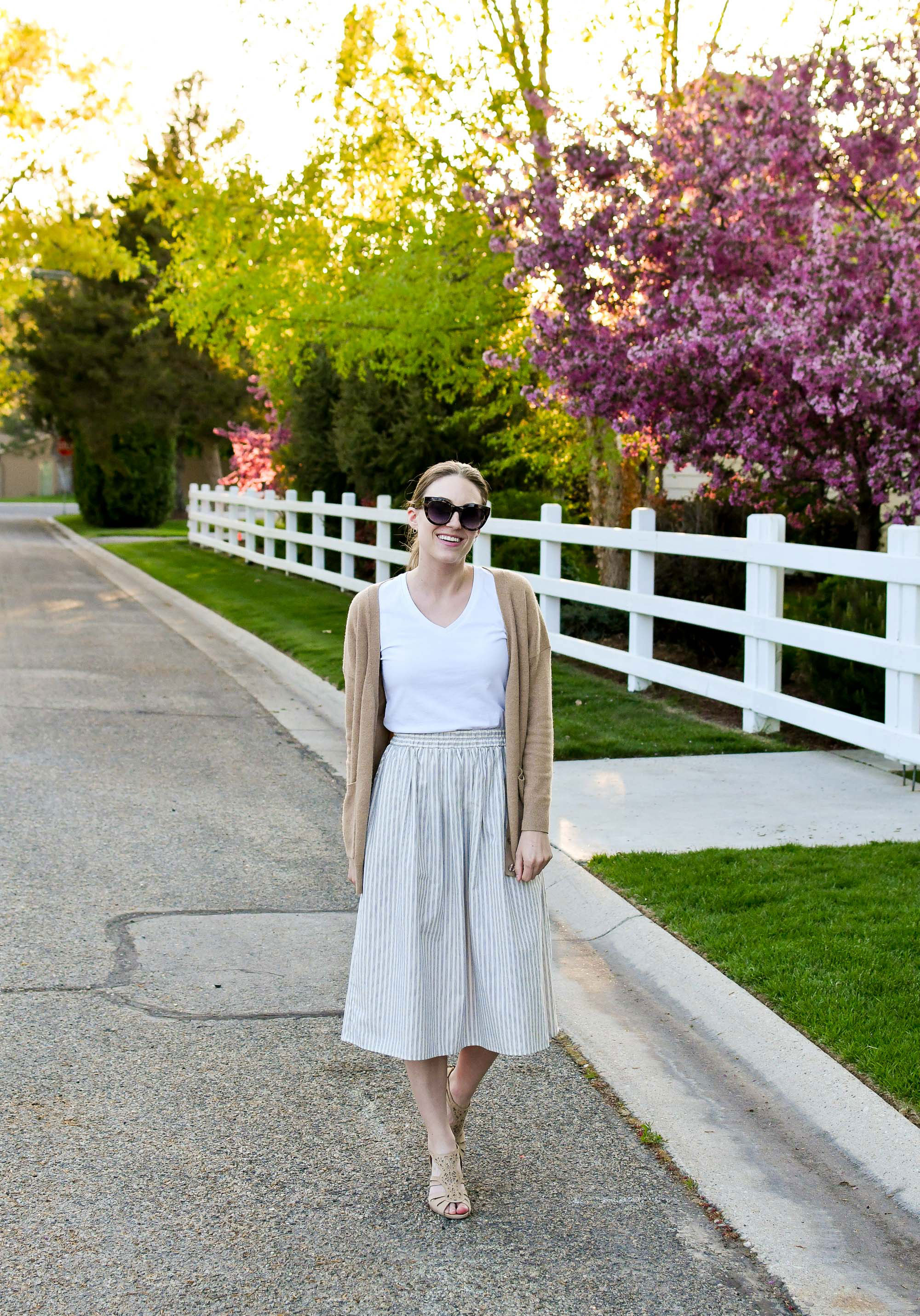 Neutral tones spring outfit with midi skirt — Cotton Cashmere Cat Hair