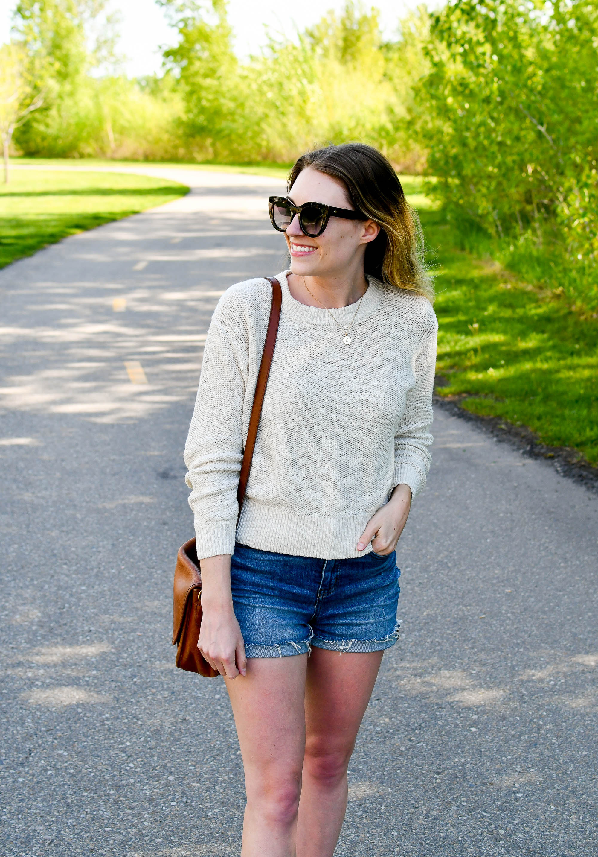 Everlane cotton-linen sweater in sand casual spring outfit — Cotton Cashmere Cat Hair