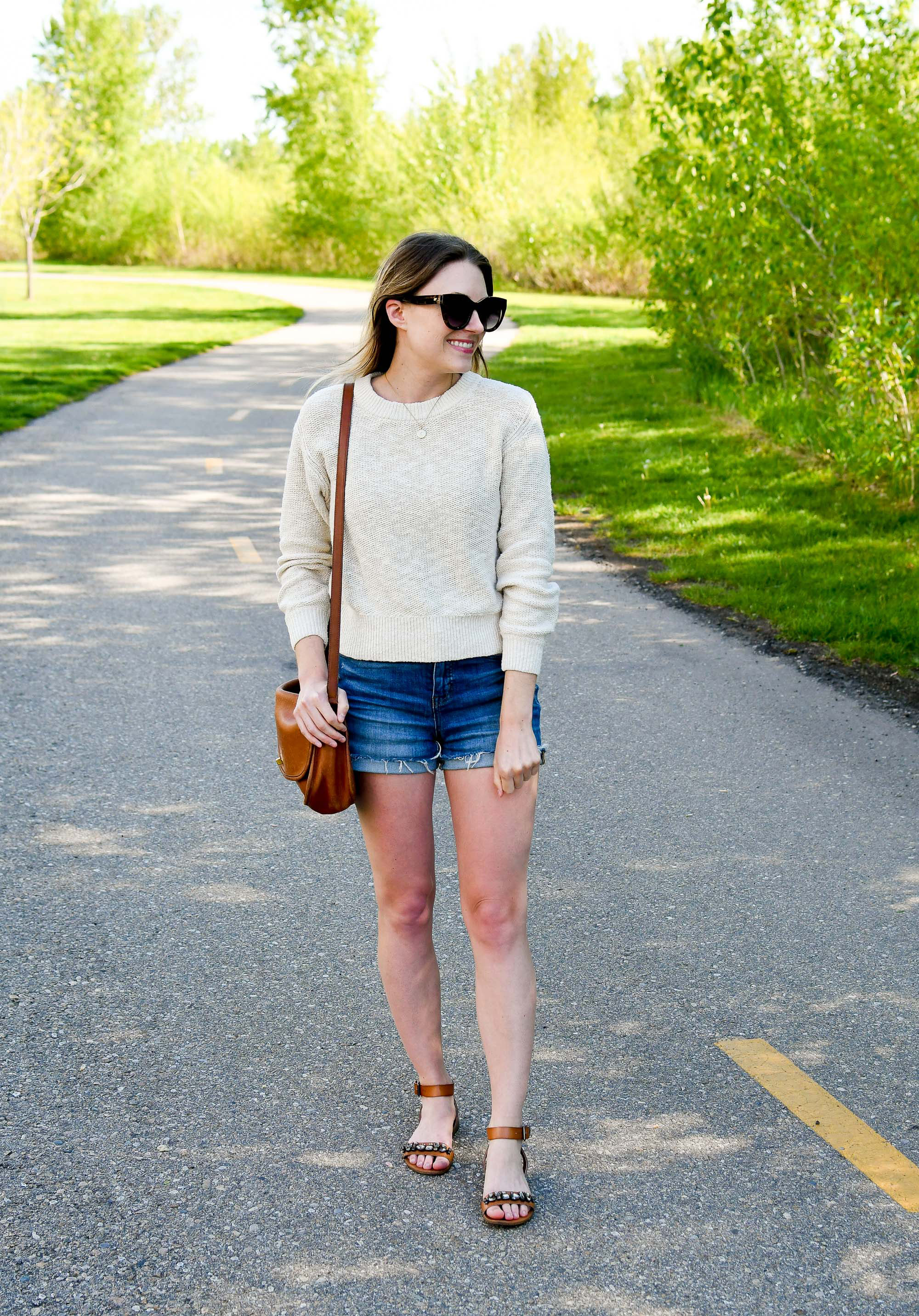 Madewell denim shorts spring outfit with cotton-linen sweater — Cotton Cashmere Cat Hair