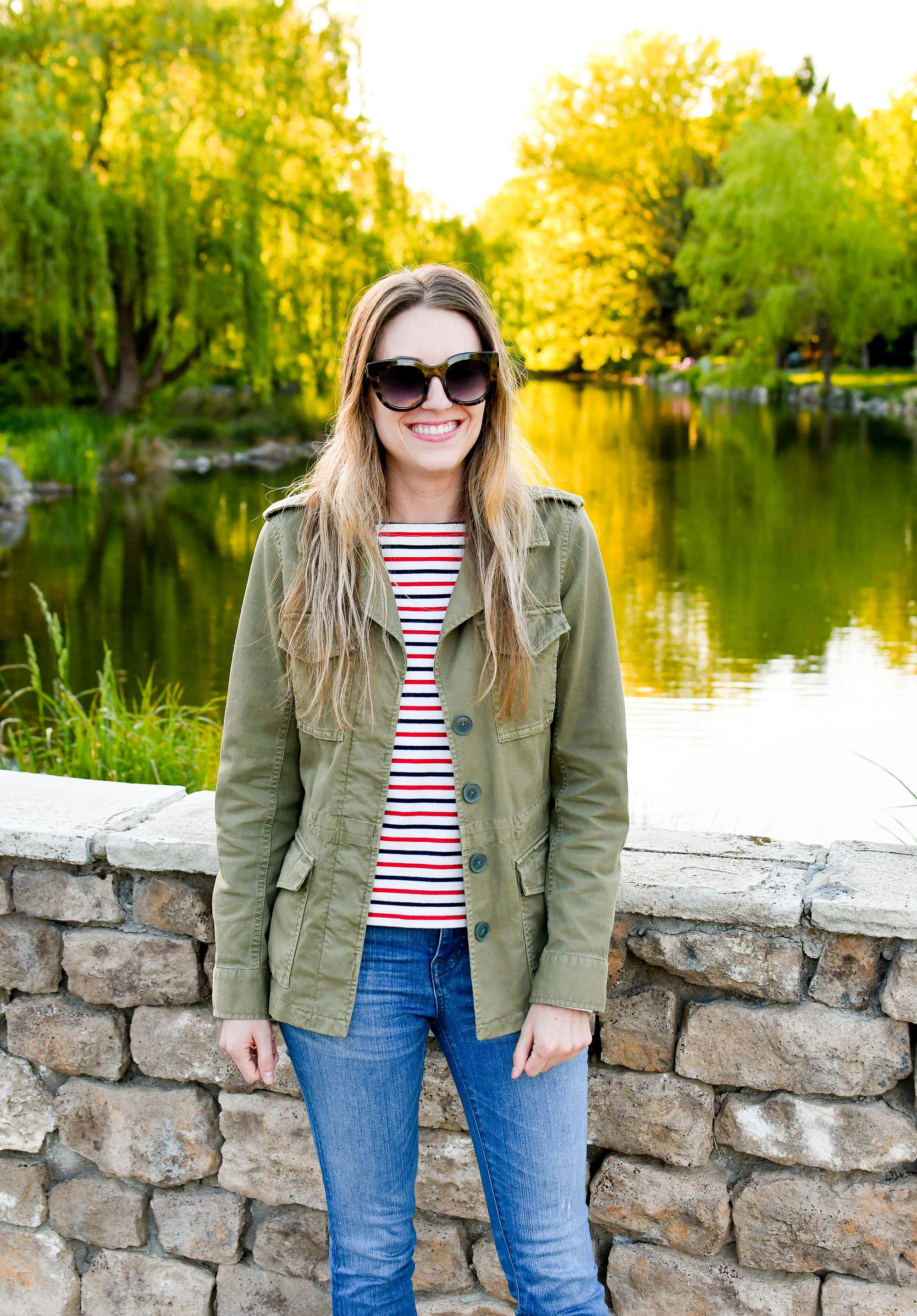 Madewell Outbound light spring jacket casual outfit — Cotton Cashmere Cat Hair