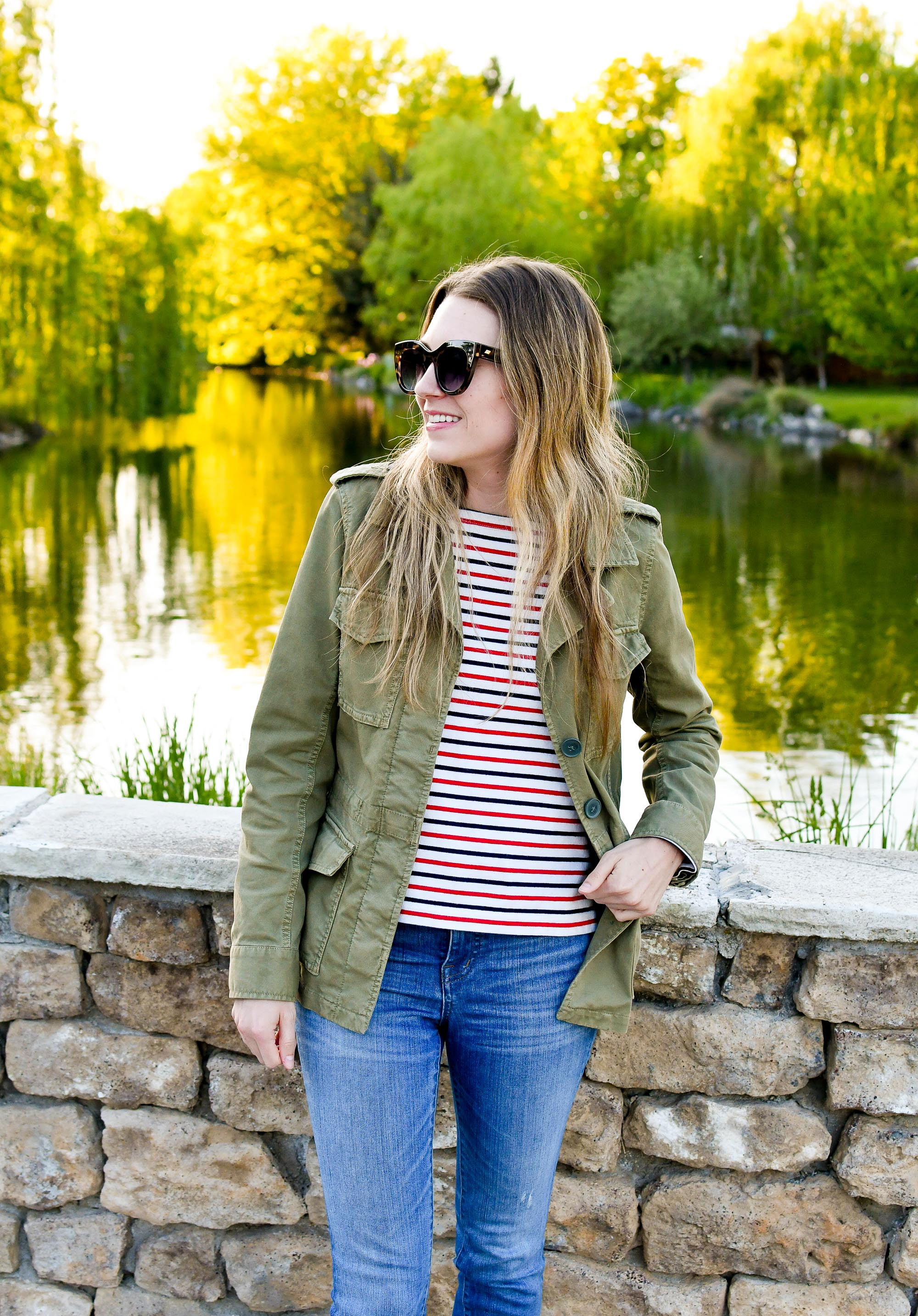 Army green utility jacket spring outfit with red and blue striped tee — Cotton Cashmere Cat Hair