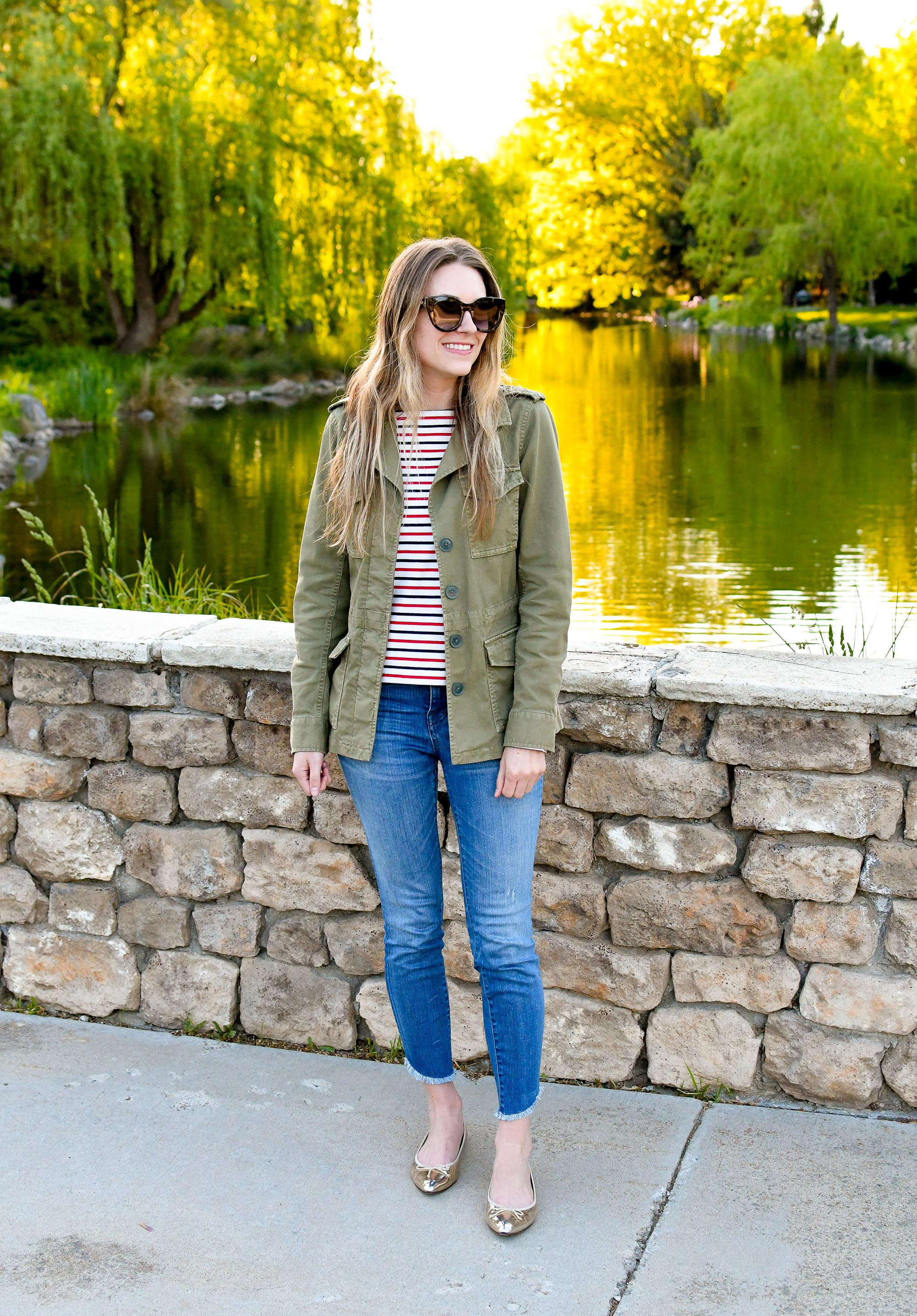 Gold flats casual spring outfit with light spring jacket — Cotton Cashmere Cat Hair