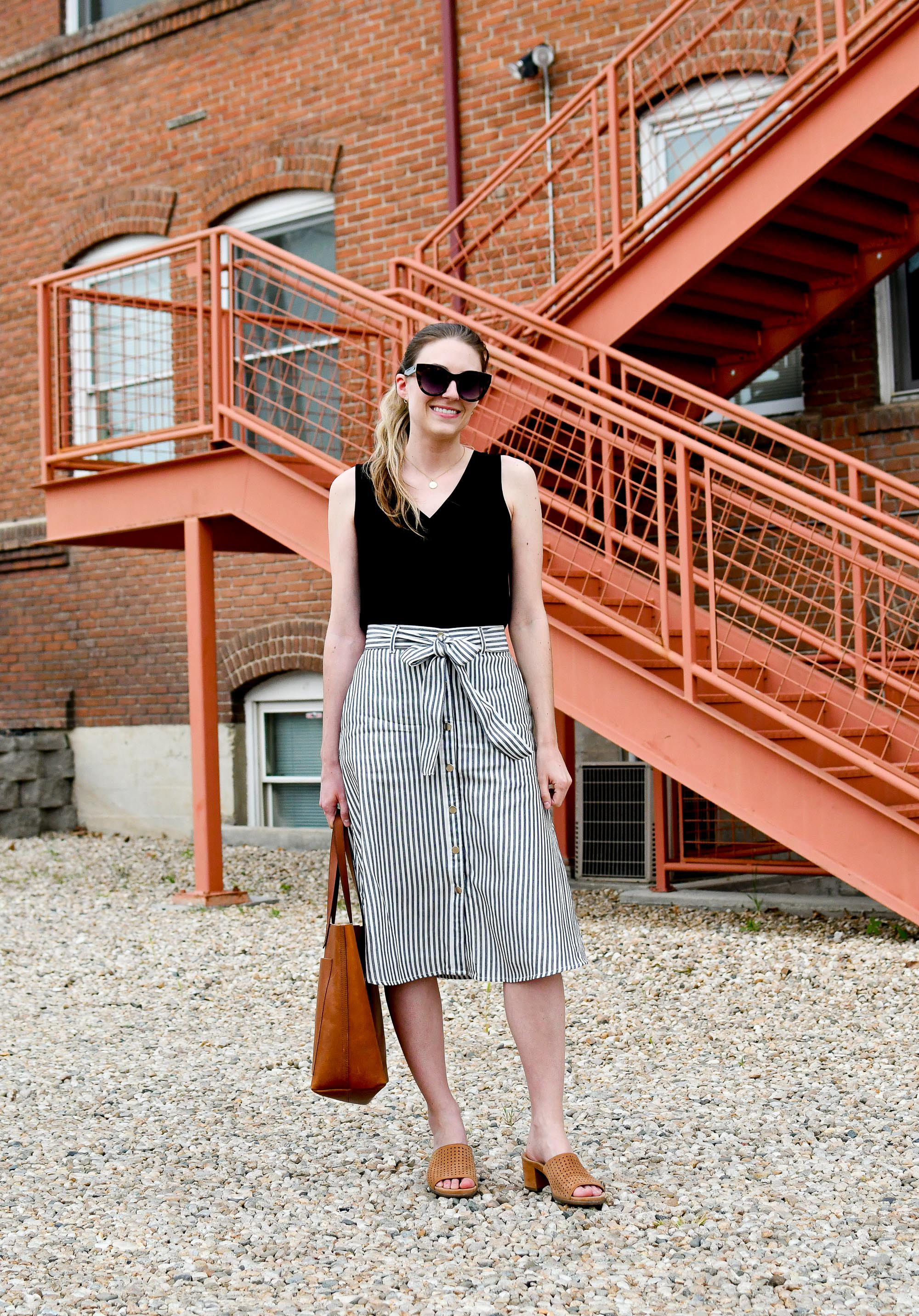 Striped midi skirt spring work outfit with Transport tote — Cotton Cashmere Cat Hair