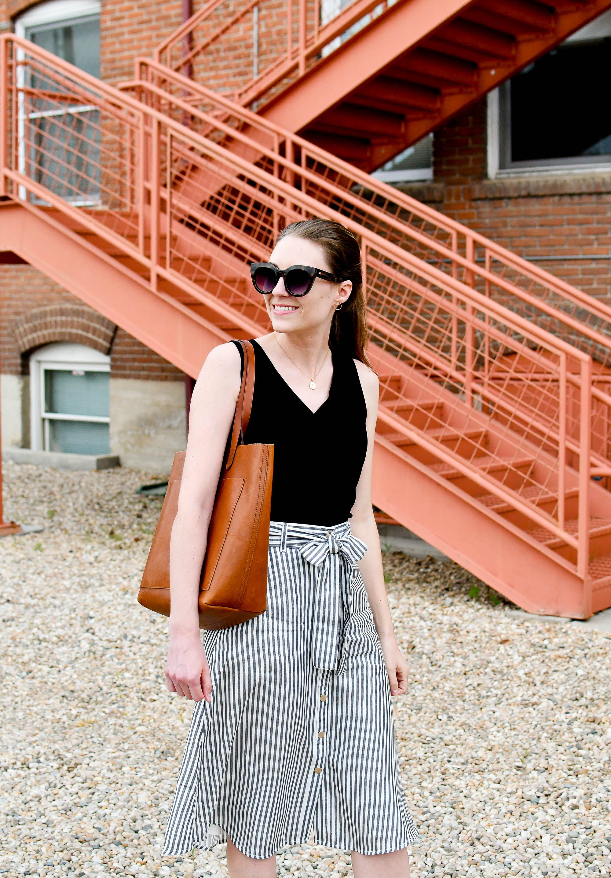 Striped skirt spring outfit with black tank top and medium Transport tote — Cotton Cashmere Cat Hair