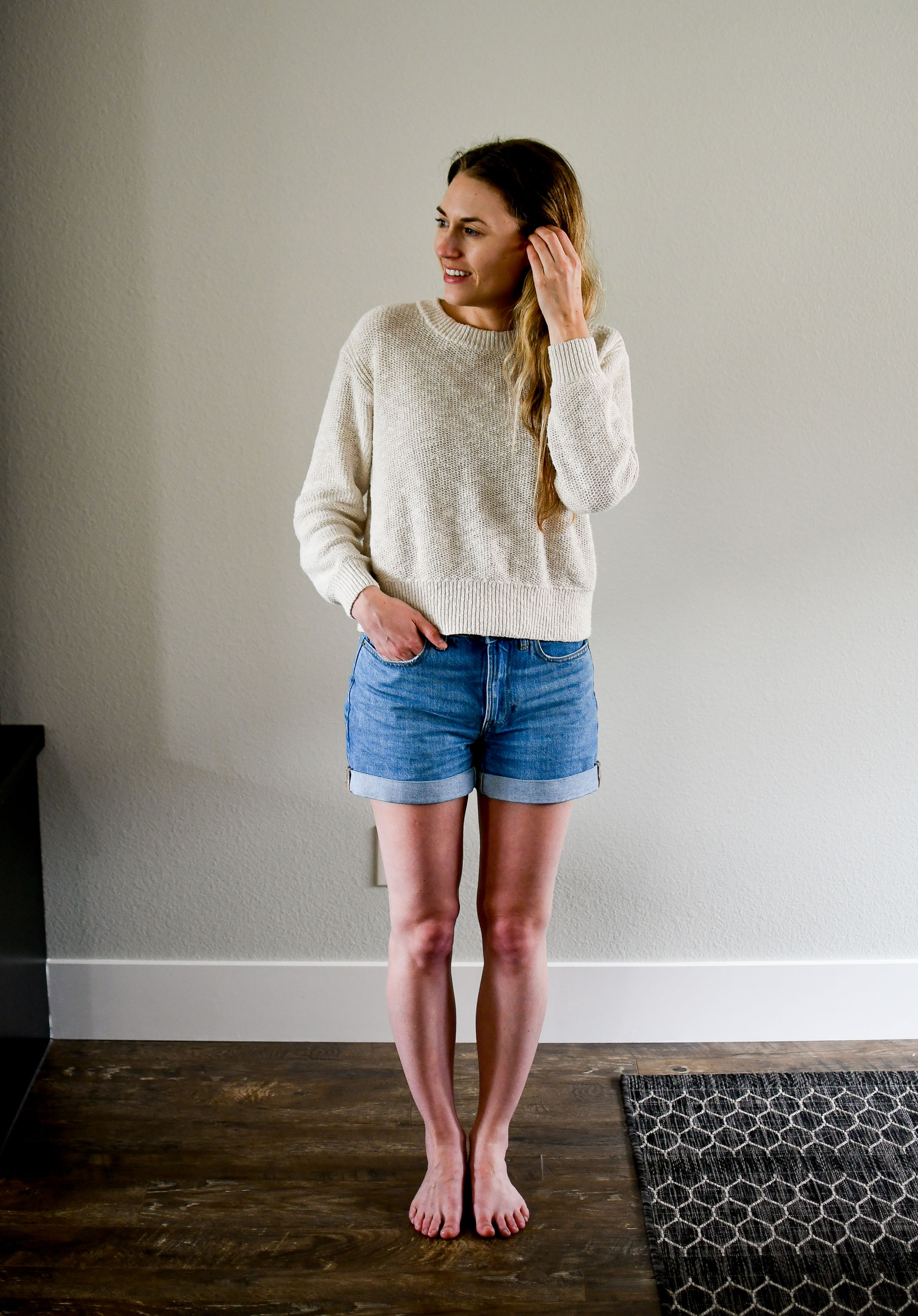 Everlane The Denim Short in vintage light blue wash — Cotton Cashmere Cat Hair