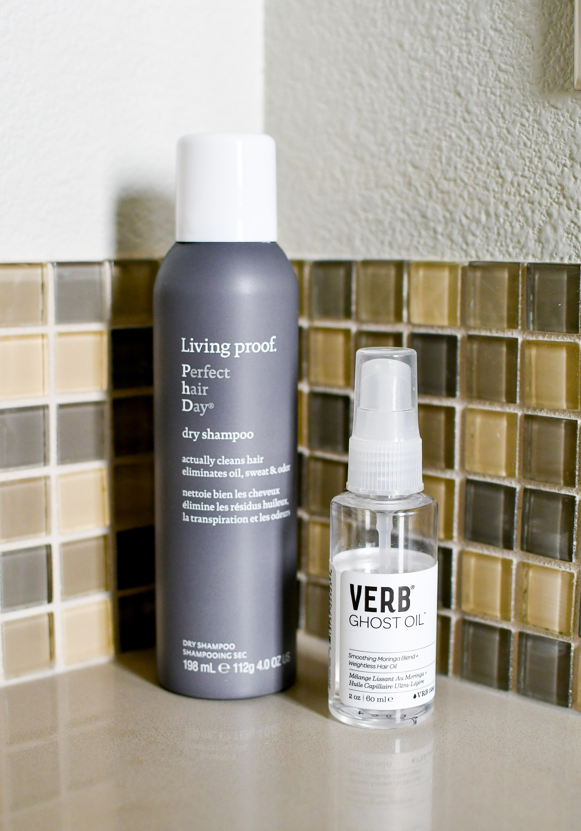 Living Proof dry shampoo and Verb ghost oil — Cotton Cashmere Cat Hair