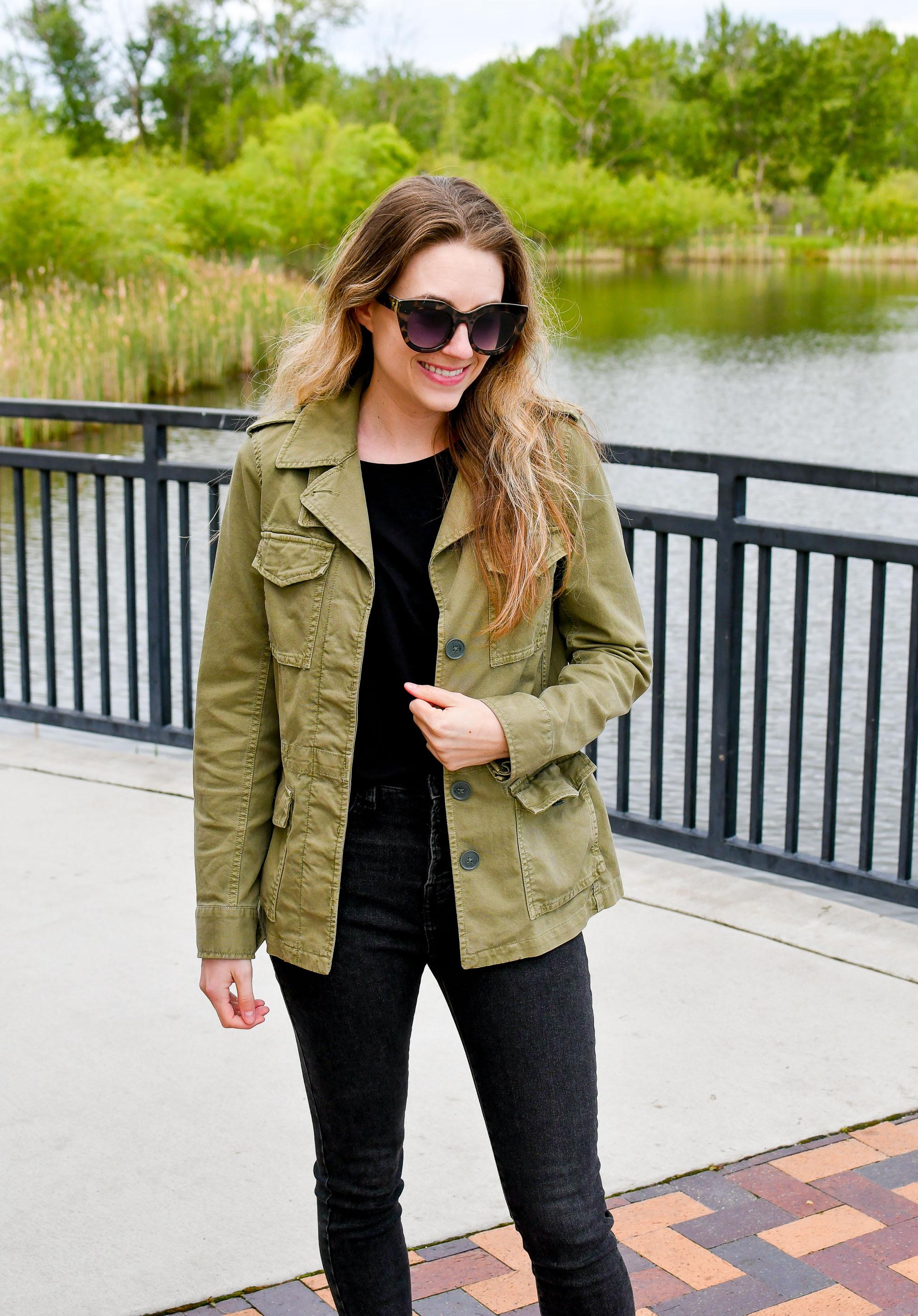 Madewell green utility jacket with black tee and denim — Cotton Cashmere Cat Hair
