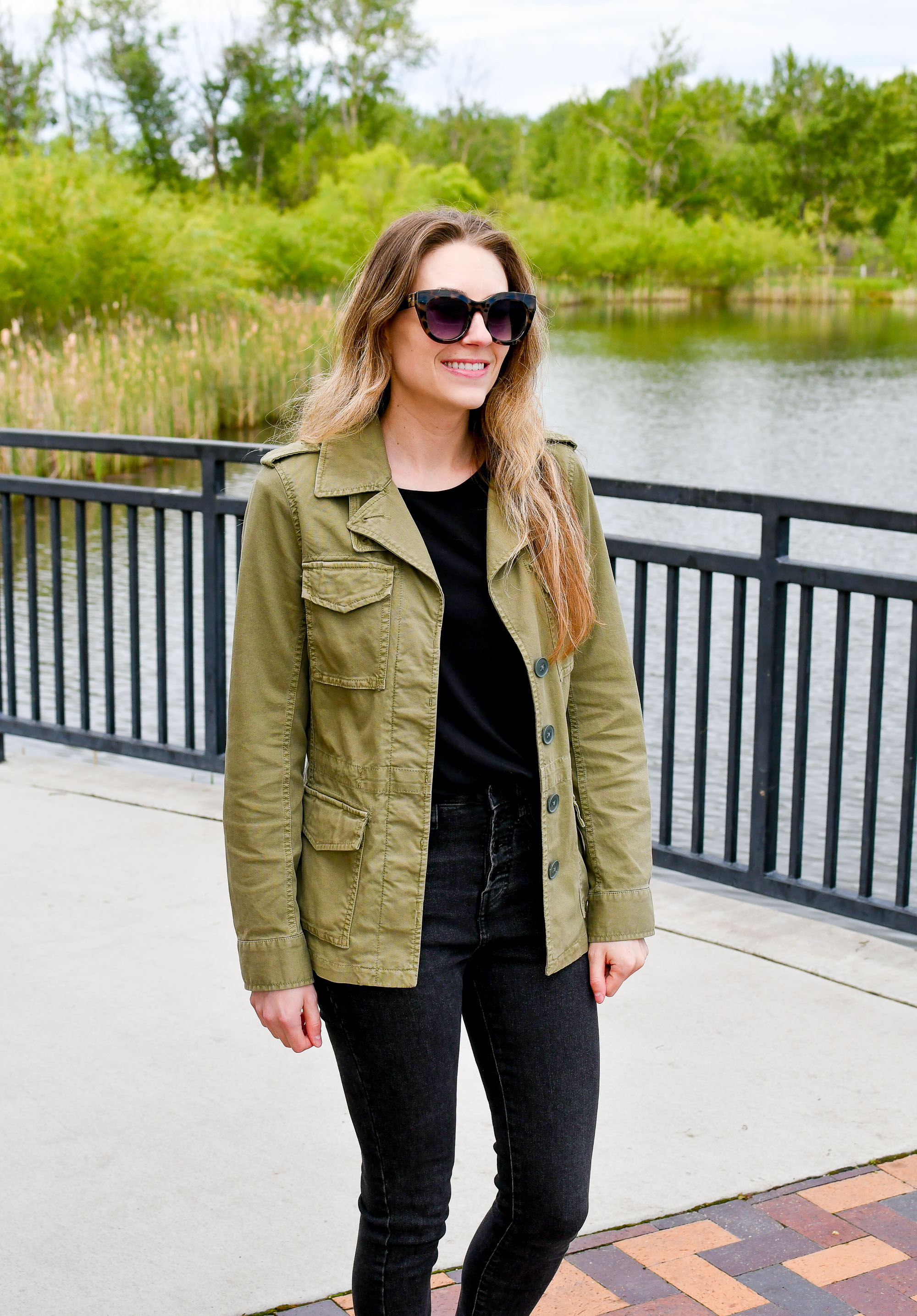 Army green utility jacket spring outfit with black — Cotton Cashmere Cat Hair