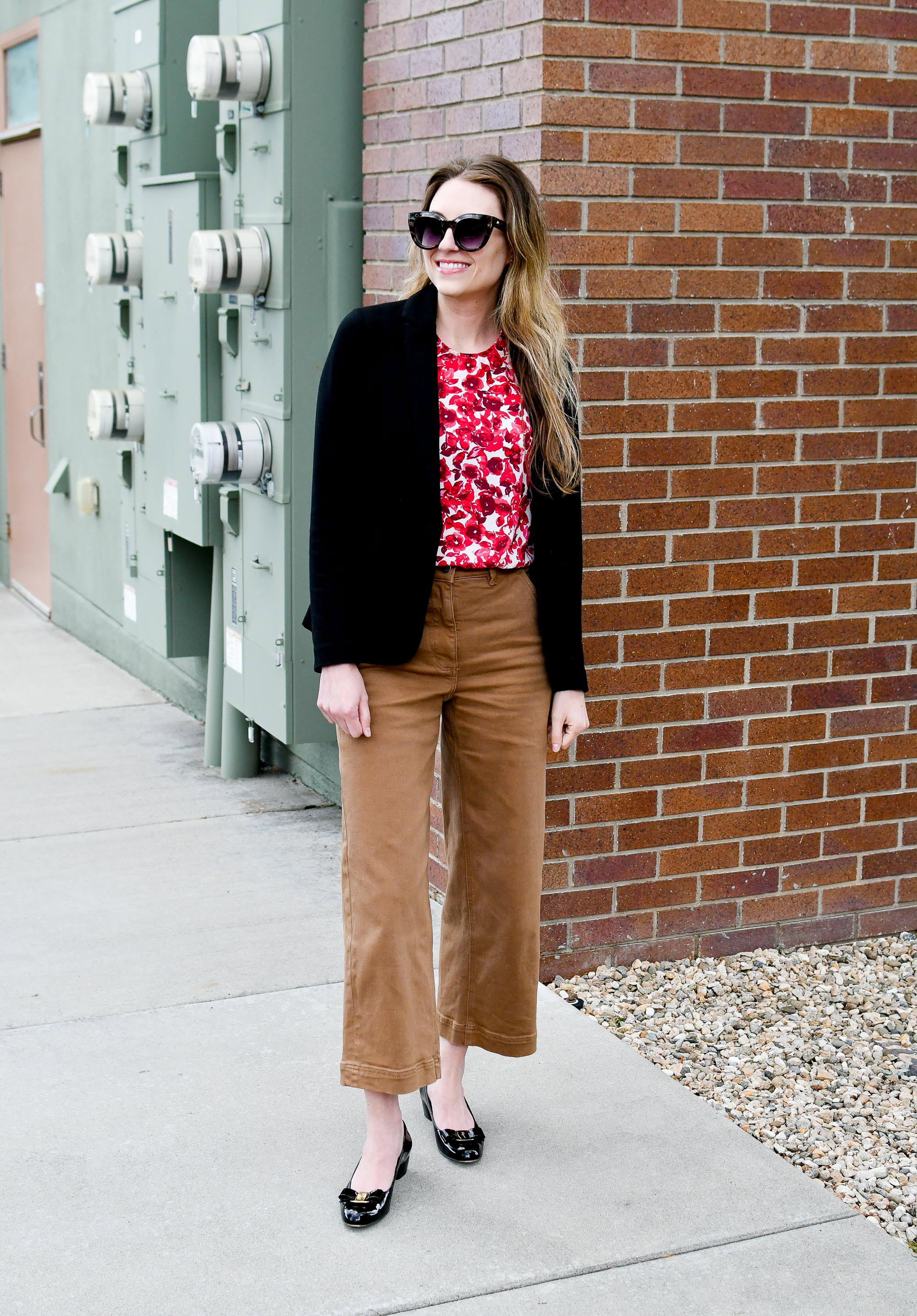 Ferragamo black Vara pumps work outfit with black blazer and wide leg pants — Cotton Cashmere Cat Hair