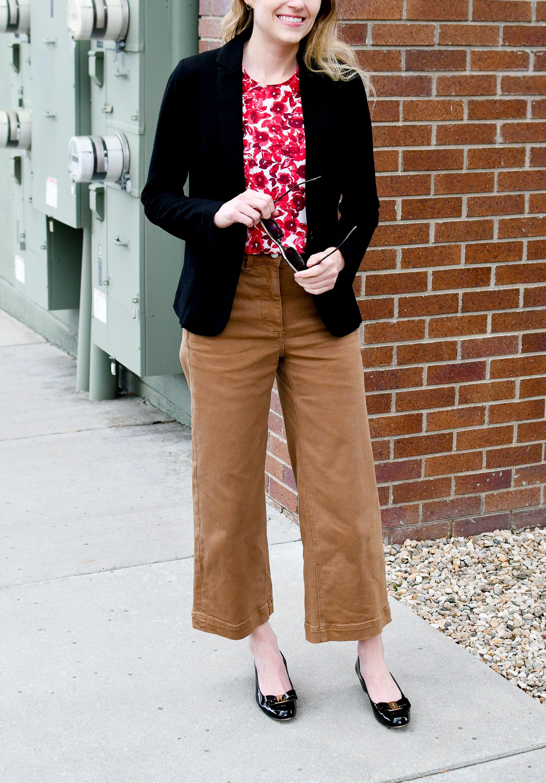 Black blazer, red floral top, ochre wide leg pants, black Ferragamo Vara pumps — Cotton Cashmere Cat Hair