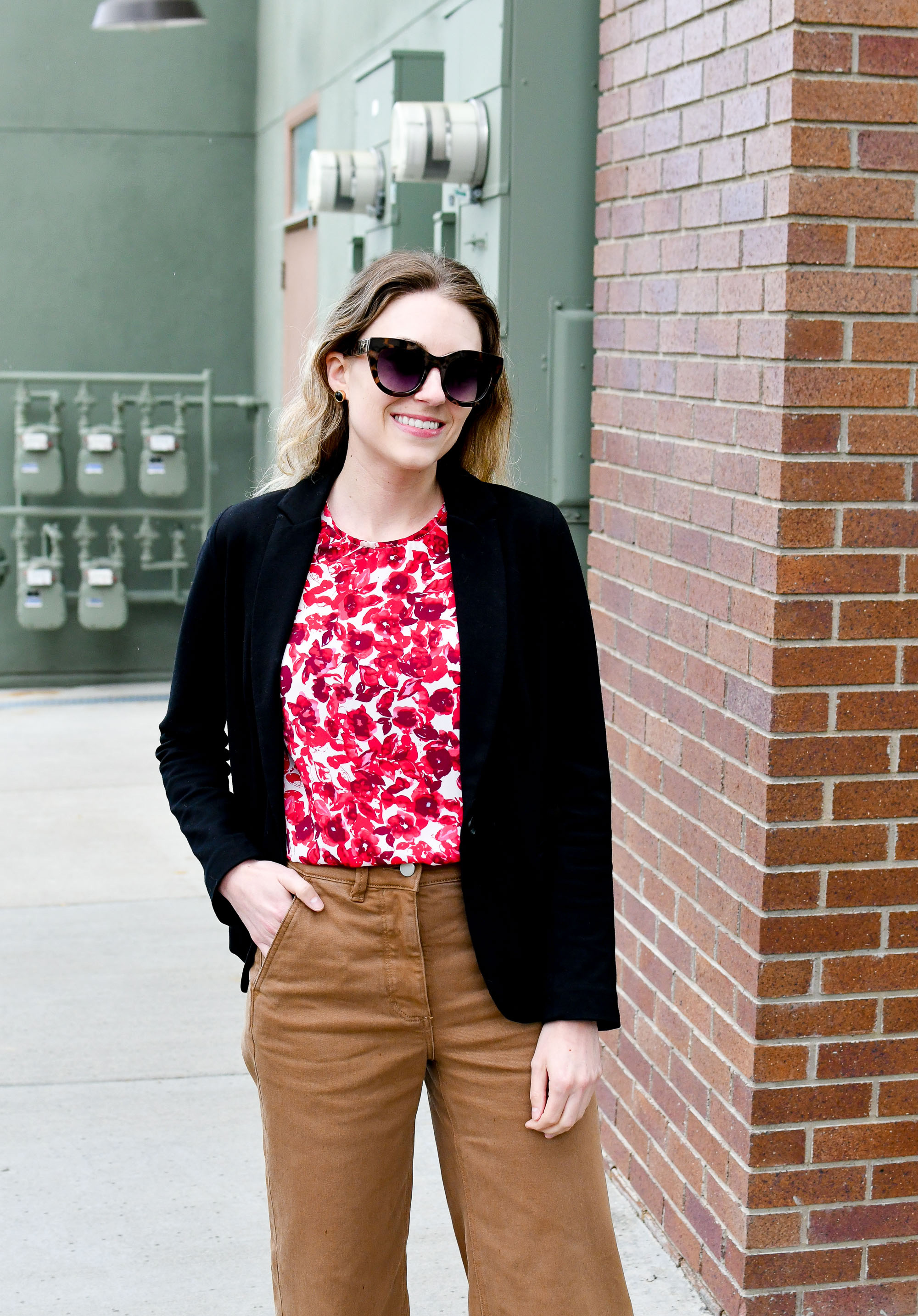 Black blazer work outfit with red floral top — Cotton Cashmere Cat Hair