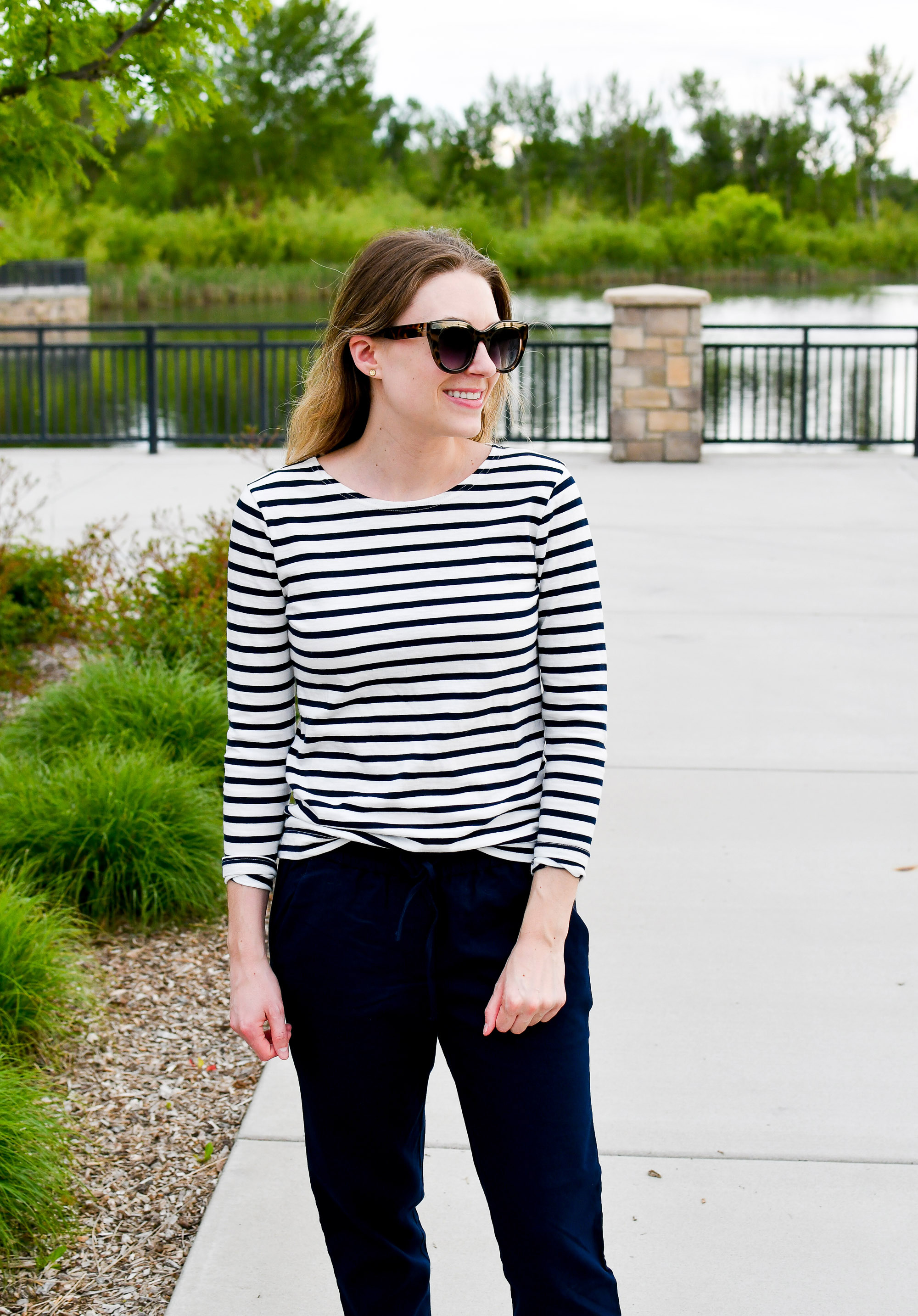 Navy striped tee spring outfit with cotton-linen pants — Cotton Cashmere Cat Hair
