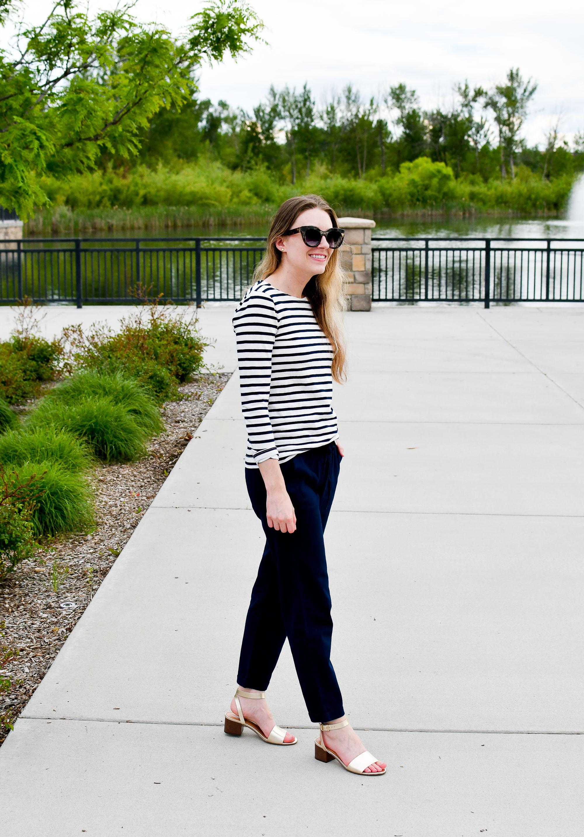 J.Crew Factory gold sandals and navy cotton-linen pants — Cotton Cashmere Cat Hair