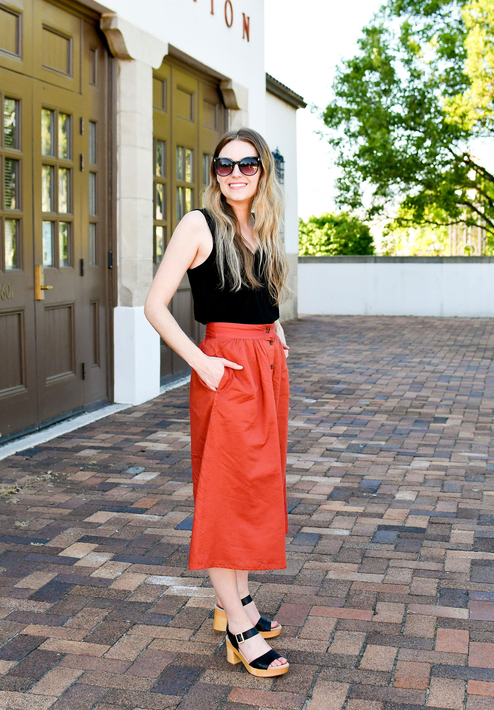 Red-orange midi skirt work outfit — Cotton Cashmere Cat Hair