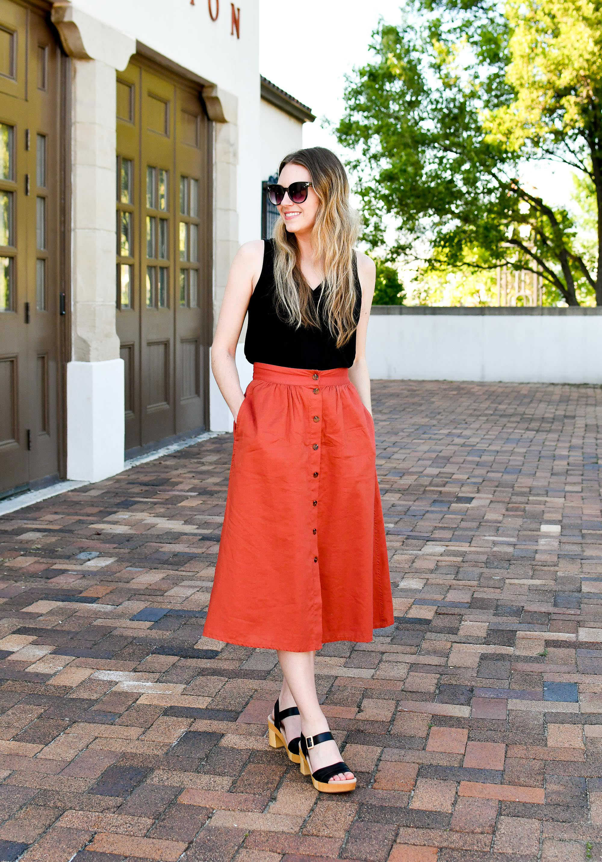 Spring work outfit with rust midi skirt — Cotton Cashmere Cat Hair