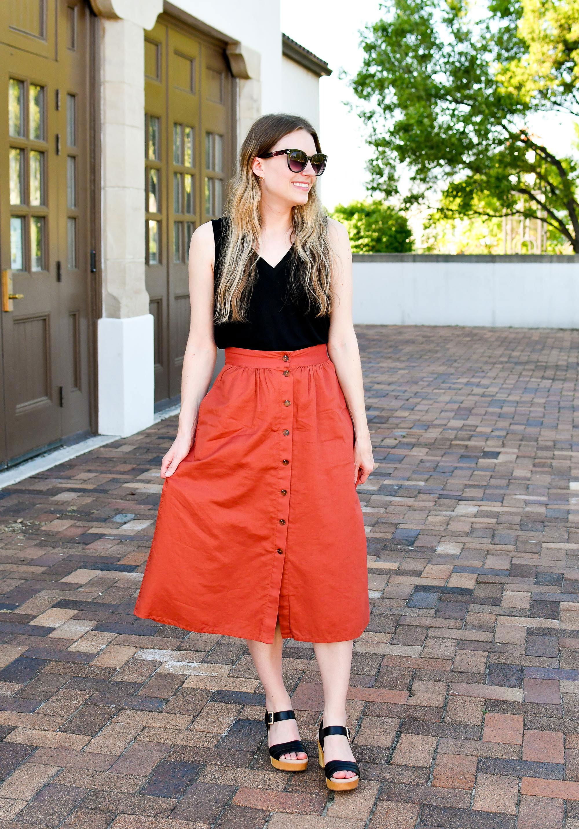 Madewell rust midi skirt and Earth Chestnut sandals — Cotton Cashmere Cat Hair
