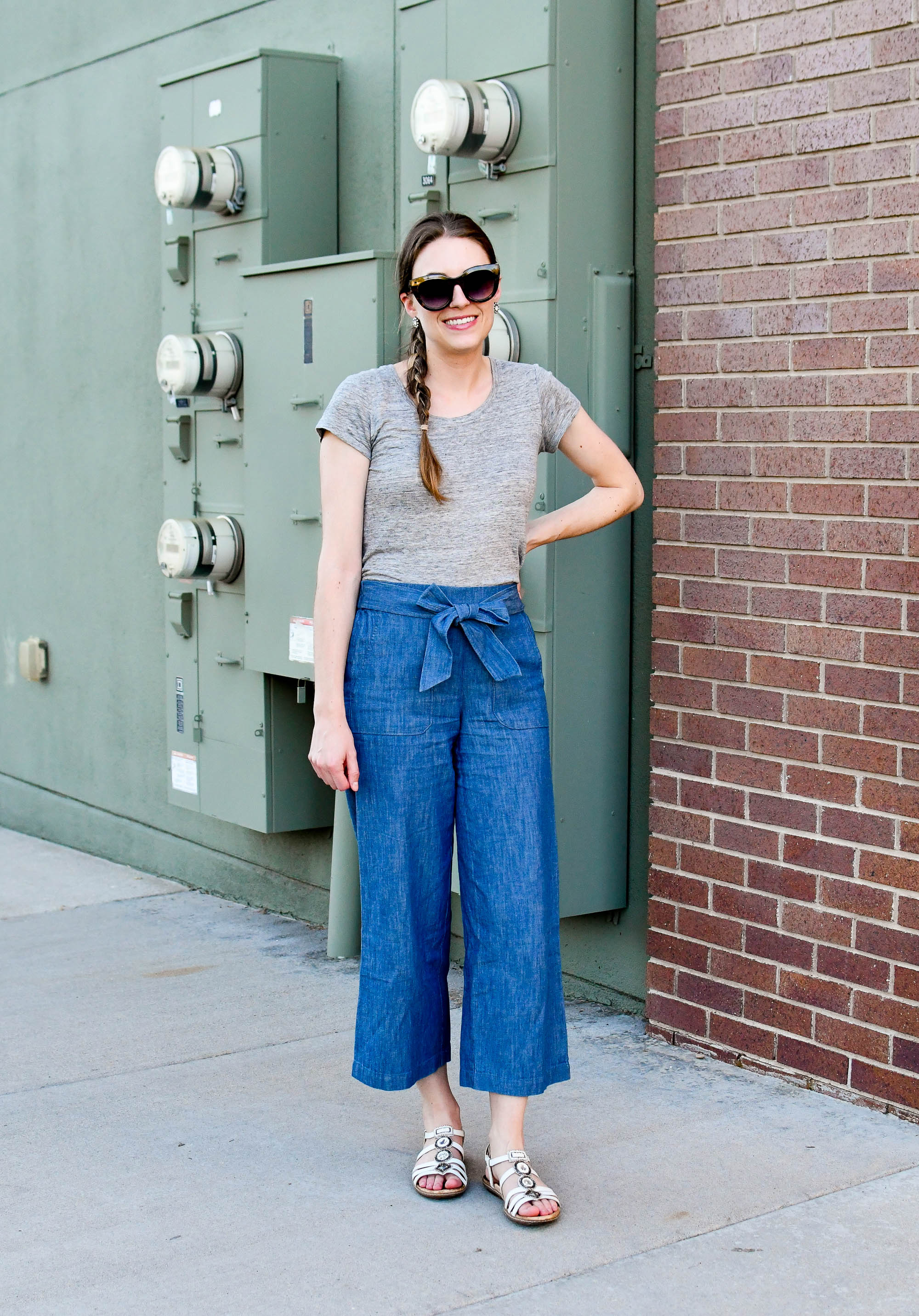 Grey linen tee, chambray wide leg pants, white sandals — Cotton Cashmere Cat Hair