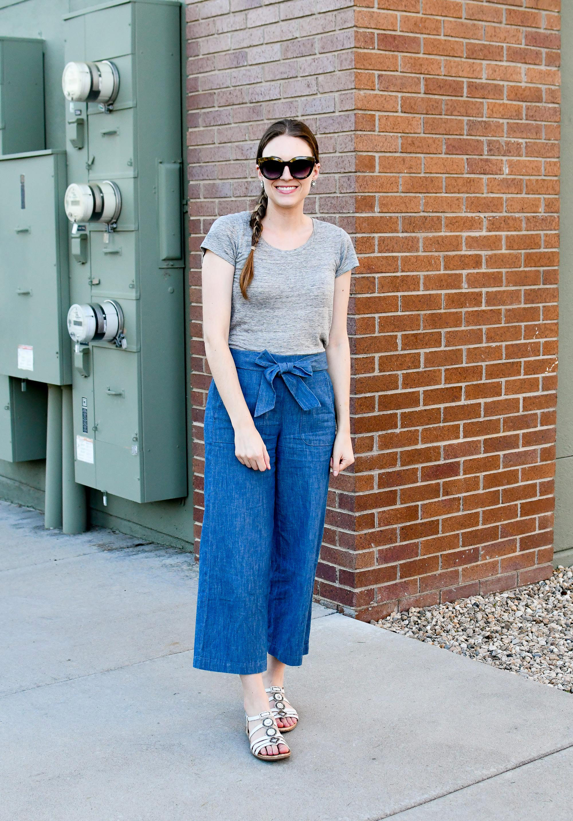 Spring work outfit with chambray wide leg pants and linen tee — Cotton Cashmere Cat Hair