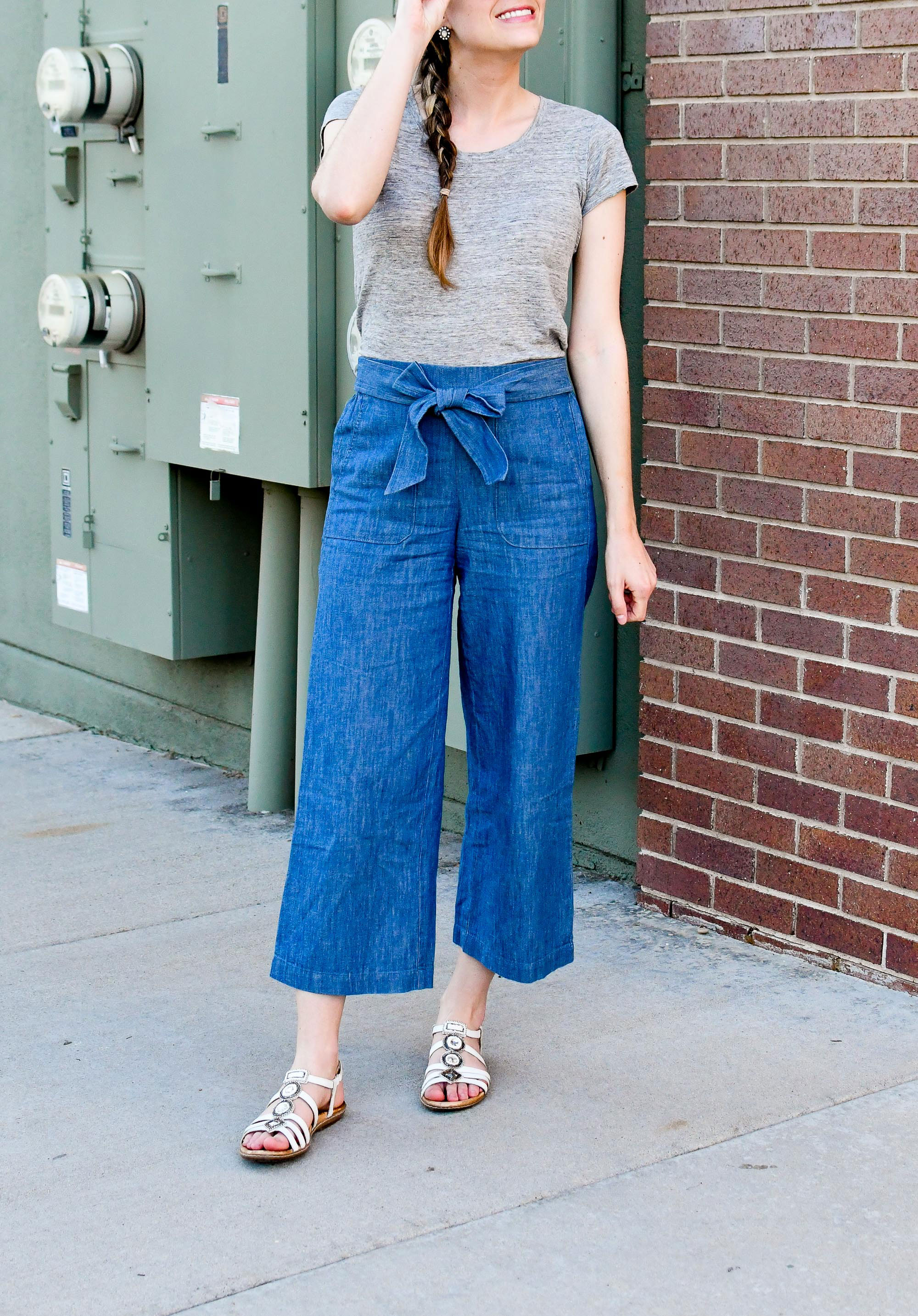 Spring work outfit with grey linen tee, chambray wide leg pants, white sandals — Cotton Cashmere Cat Hair