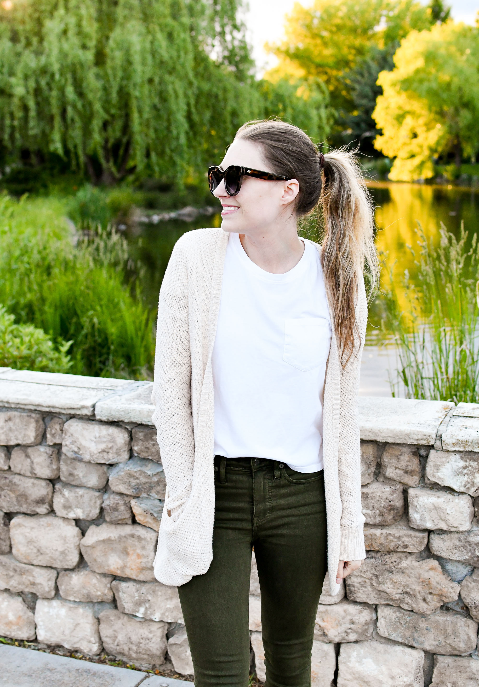 Ivory cardigan spring outfit with white tee — Cotton Cashmere Cat Hair