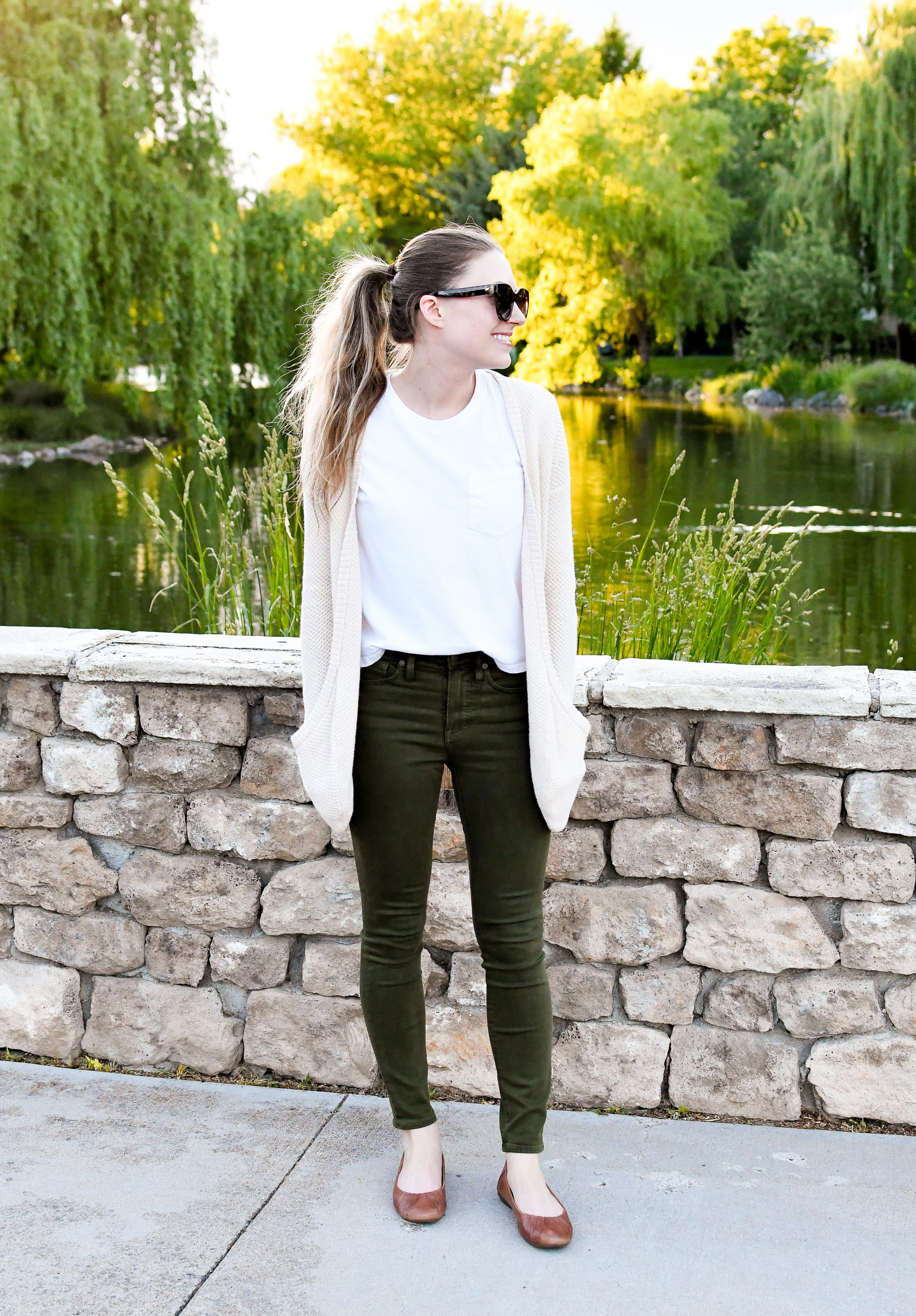 Ivory cardigan, white tee, olive green jeans, brown flats — Cotton Cashmere Cat Hair