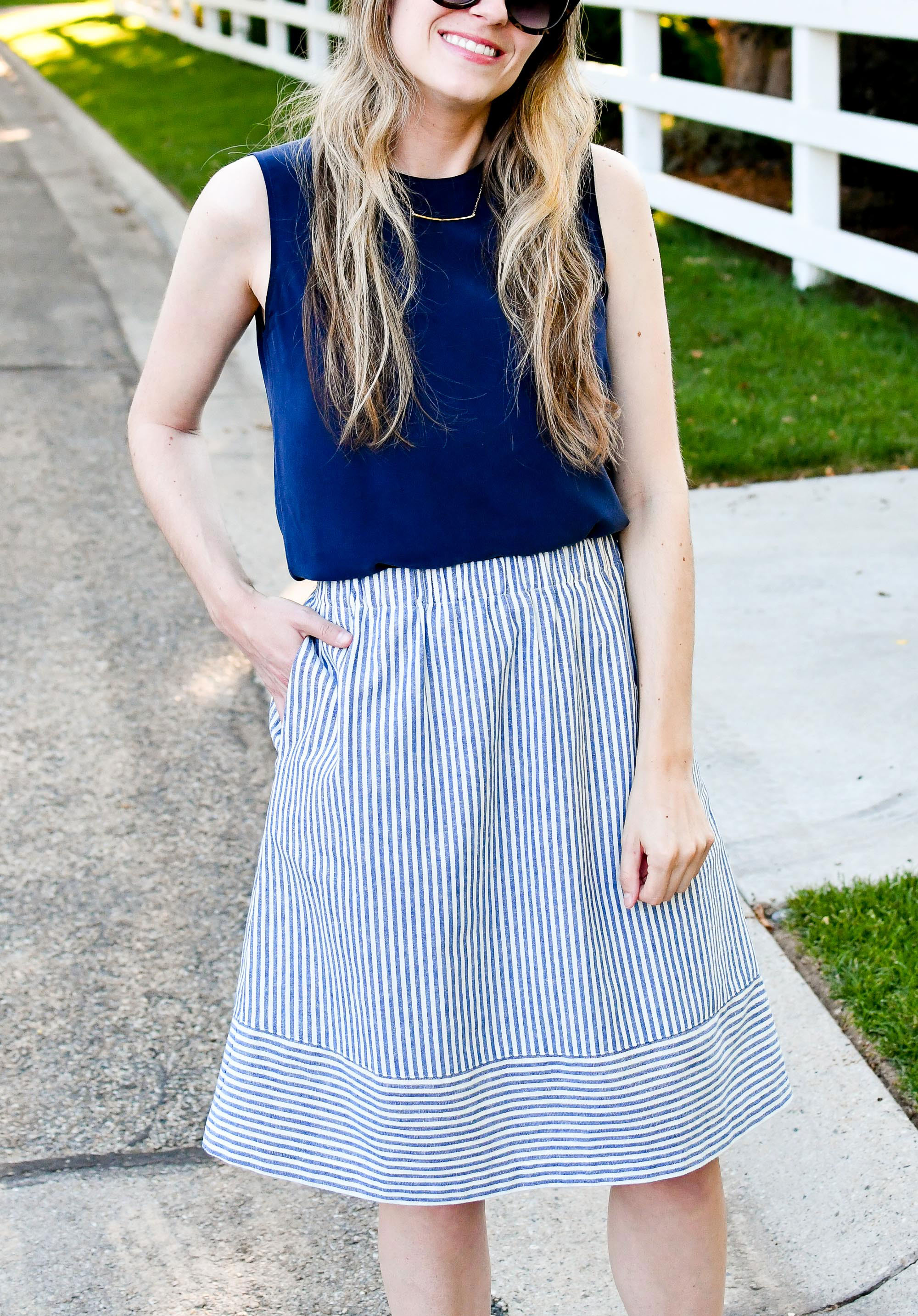 Navy silk shell and blue striped linen skirt spring work outfit — Cotton Cashmere Cat Hair