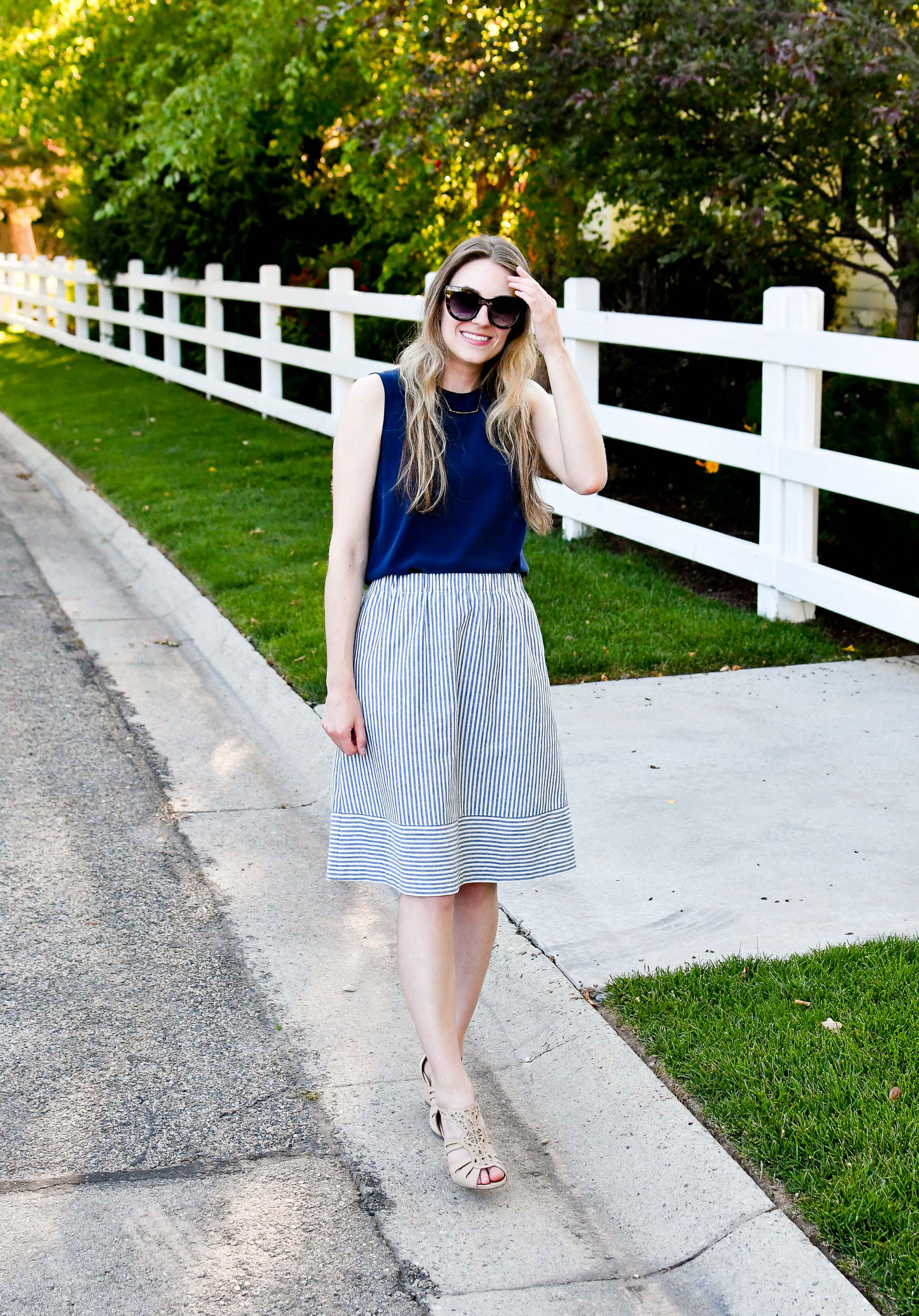 Work outfit with navy silk shell and striped midi skirt — Cotton Cashmere Cat Hair