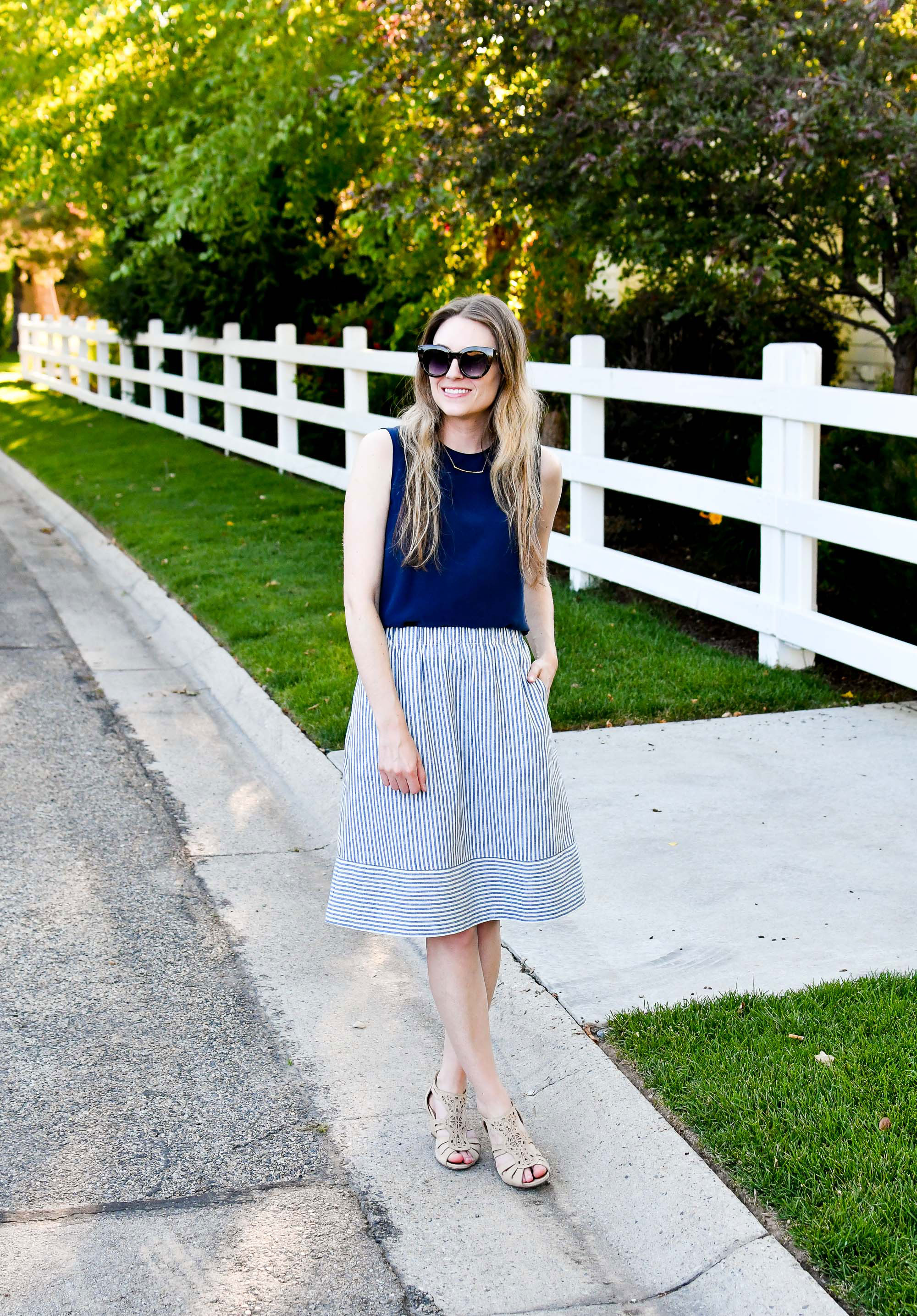 J.Crew Factory blue striped cotton-linen midi skirt work outfit — Cotton Cashmere Cat Hair