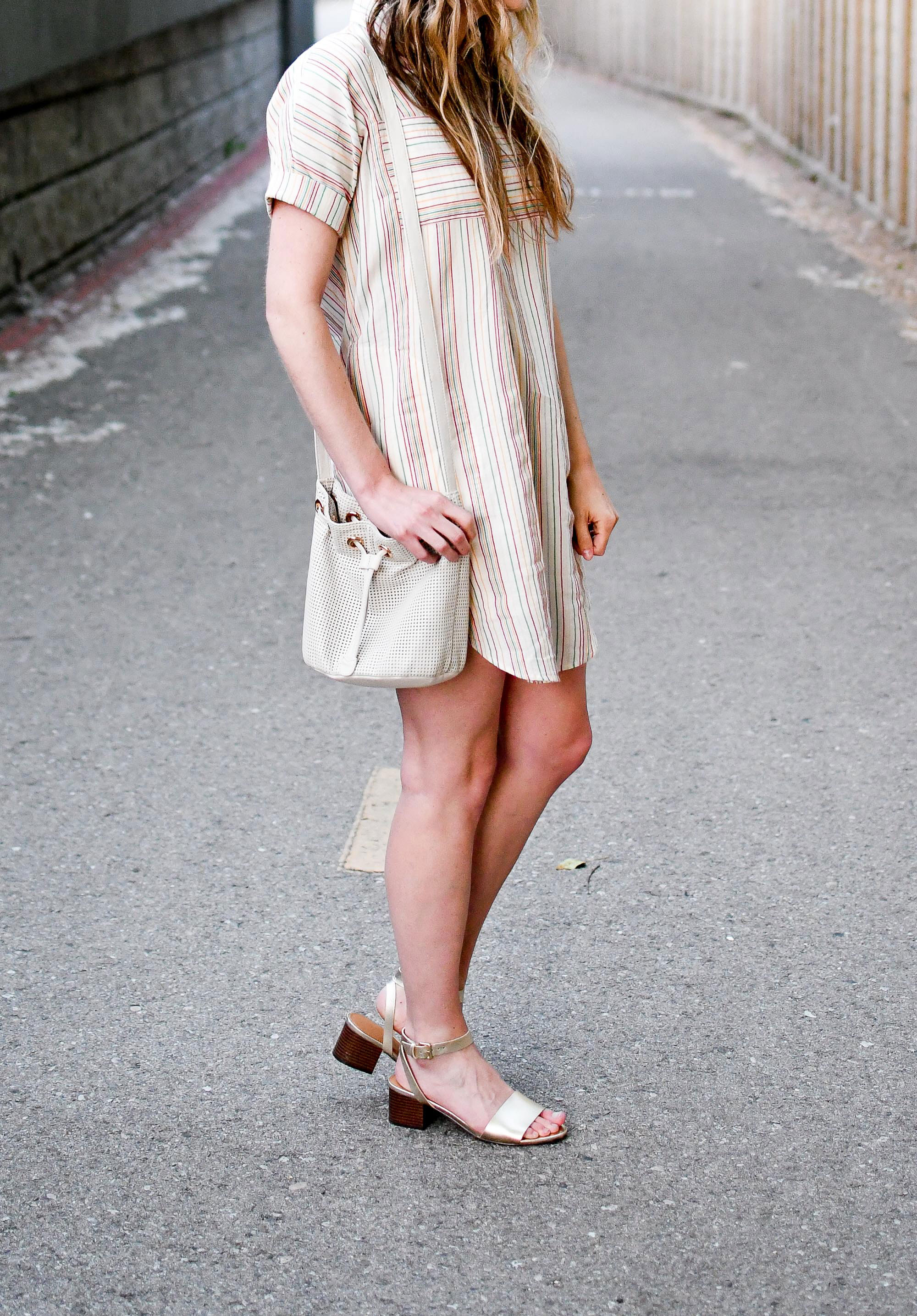 Madewell rainbow stripe shirtdress summer outfit with gold sandals and bucket bag — Cotton Cashmere Cat Hair
