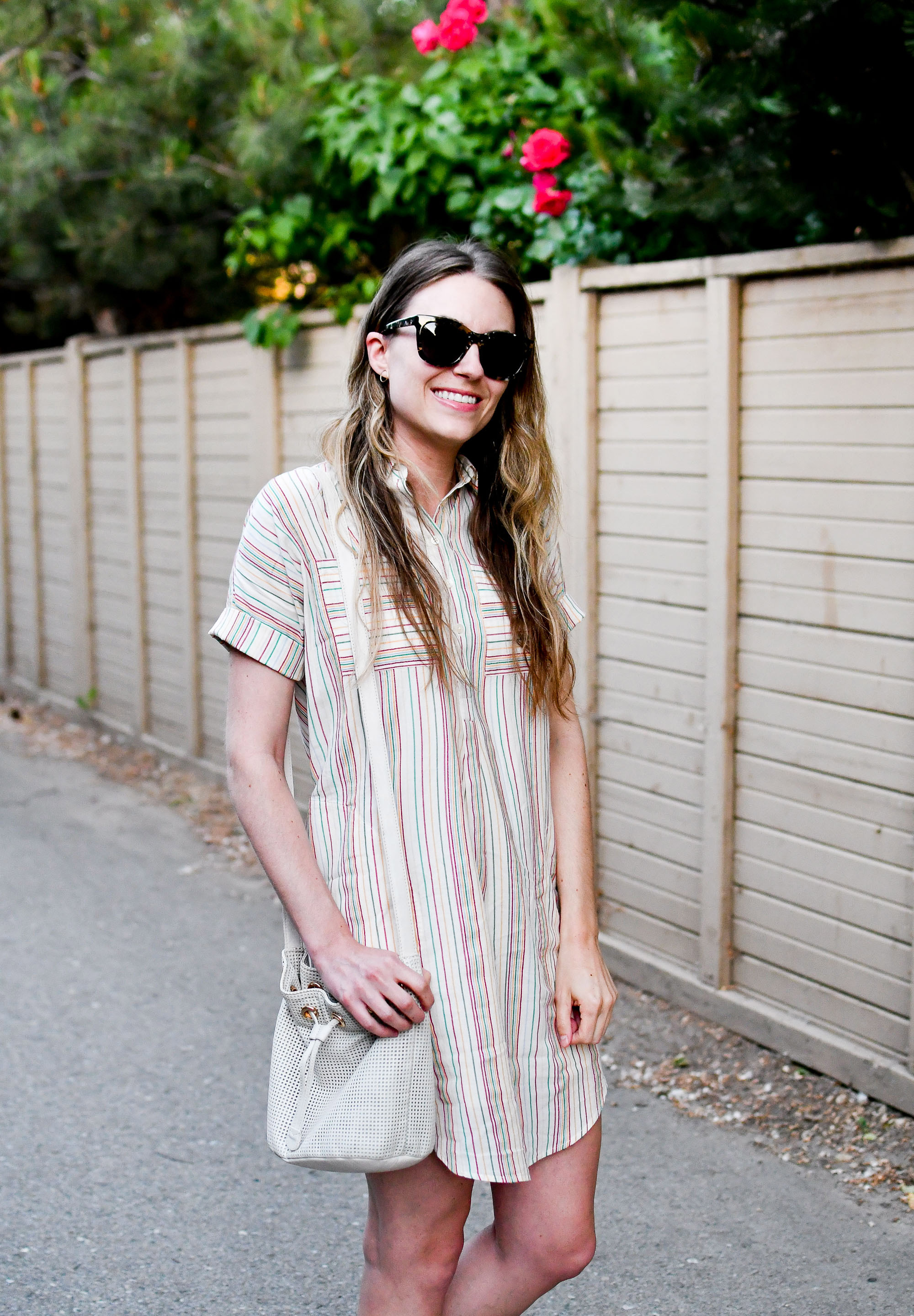 Textural rainbow stripe shirtdress summer outfit with bucket bag — Cotton Cashmere Cat Hair