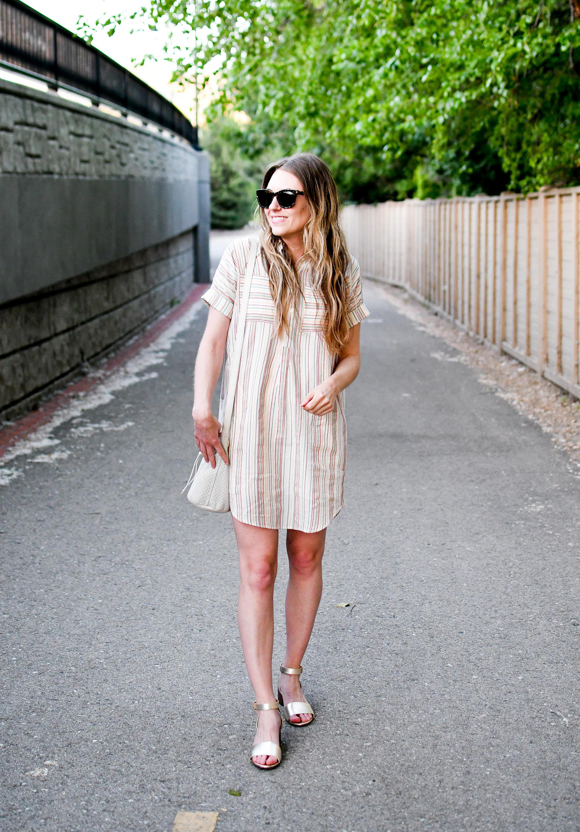 Casual summer outfit with rainbow striped dress and gold sandals — Cotton Cashmere Cat Hair