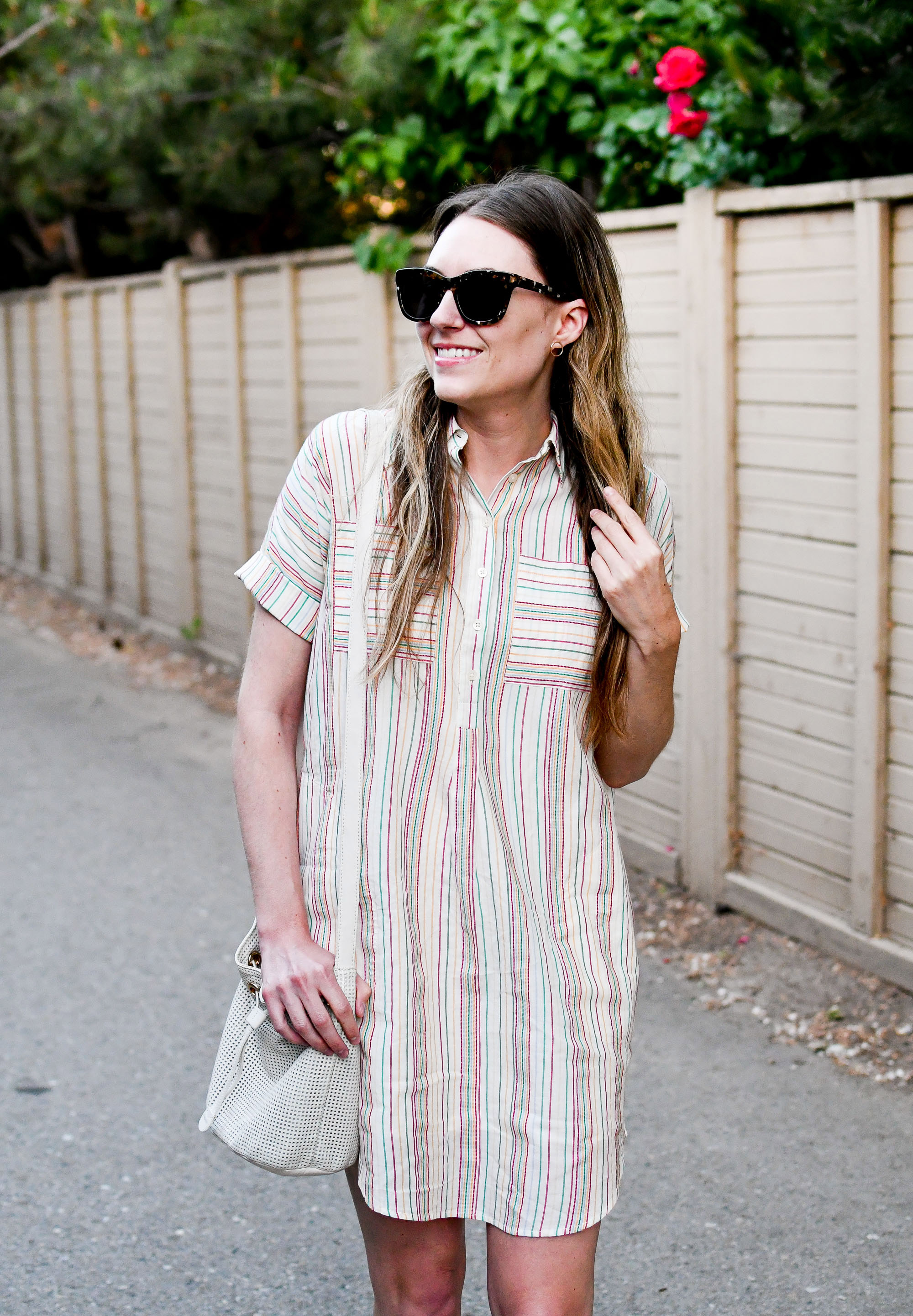 Madewell Popover Courier Shirtdress in Textural Rainbow Stripe — Cotton Cashmere Cat Hair