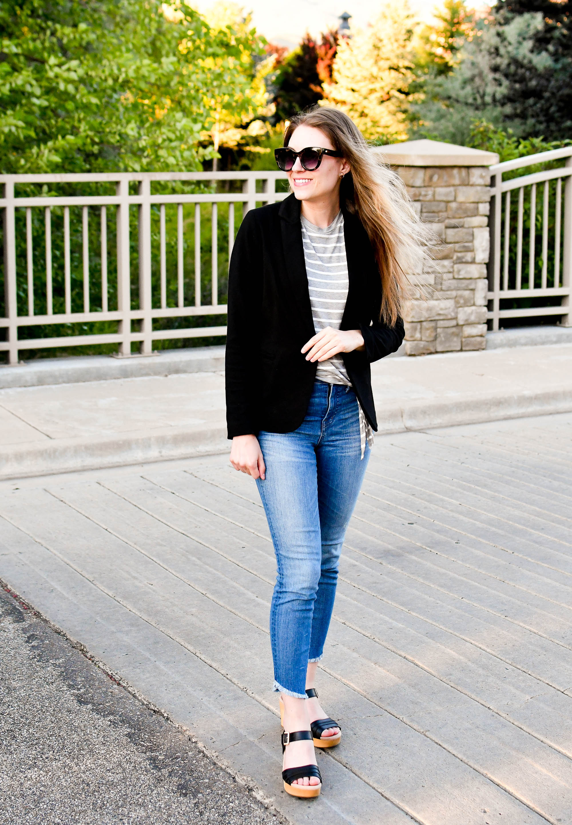 Black blazer summer work outfit with striped tee and denim — Cotton Cashmere Cat Hair