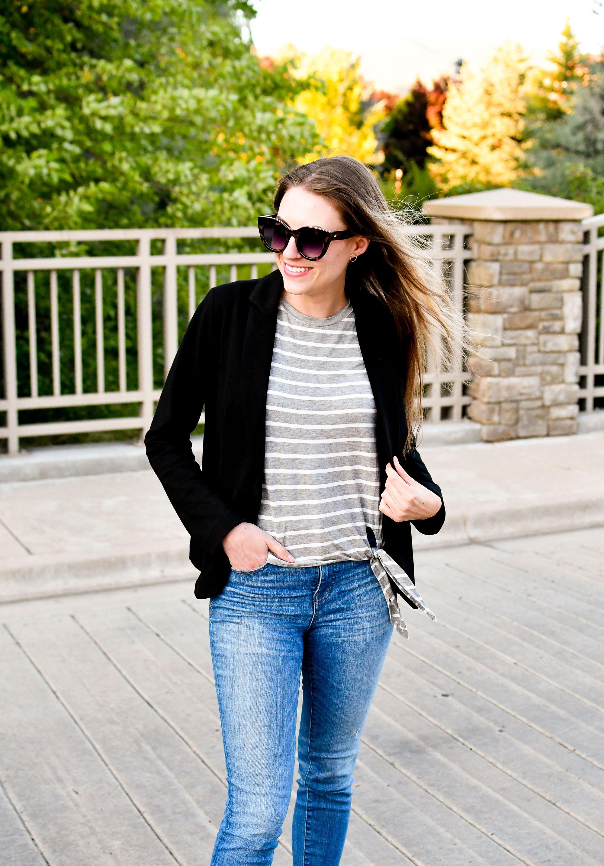 Black blazer, grey striped tee, denim summer outfit — Cotton Cashmere Cat Hair