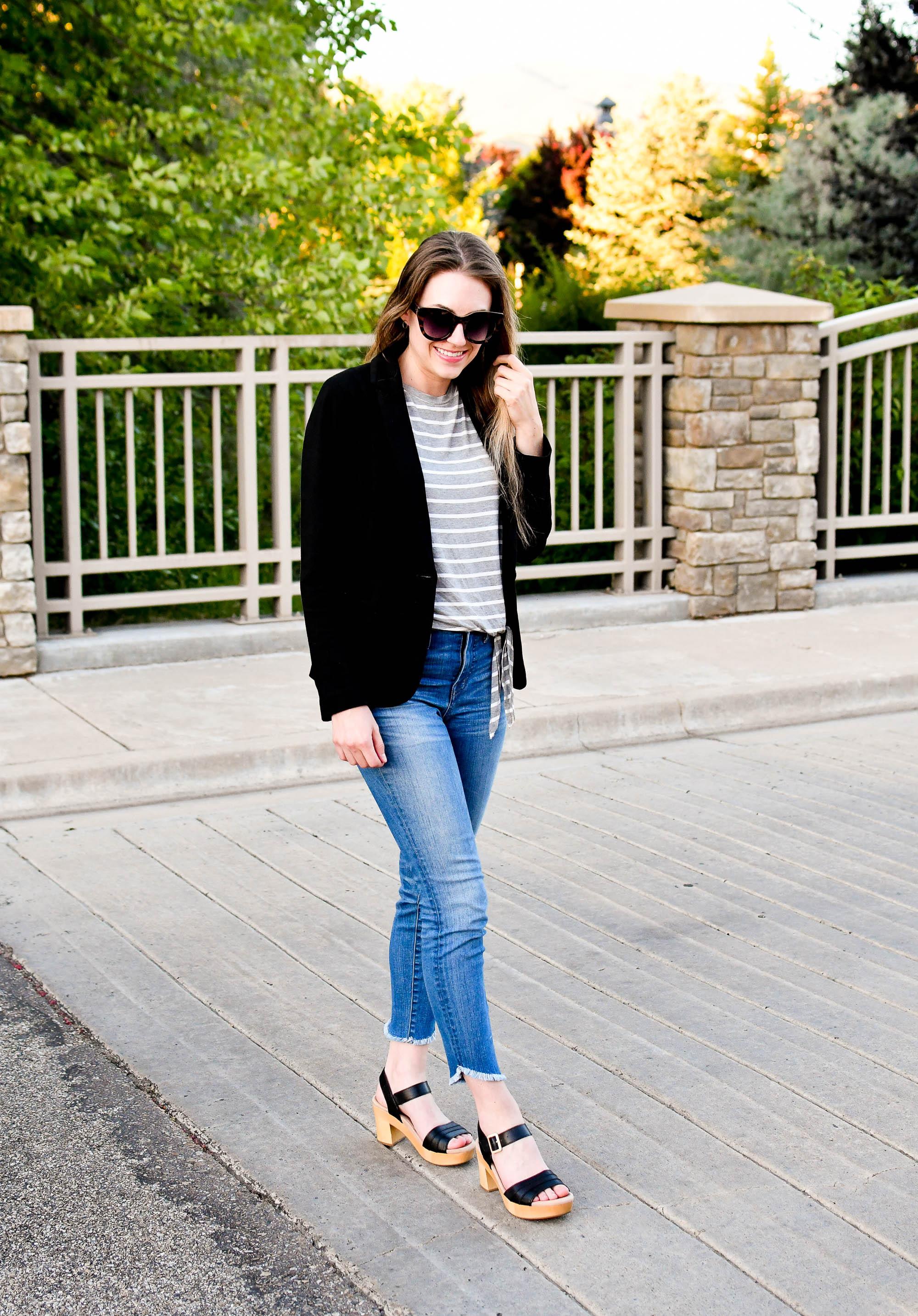 Earth Chestnut platform sandals summer work outfit — Cotton Cashmere Cat Hair